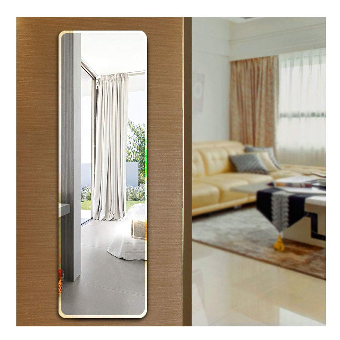 Frameless Full Length Wall Mirrors Inside 2020 Ecentaur Wall Mounted Beveled Edge Mirror Doors Hanging Mirrors Full Length  Glass Panel Rectangular Frameless Mirror For Bedroom Bathroom Living Room (View 5 of 20)