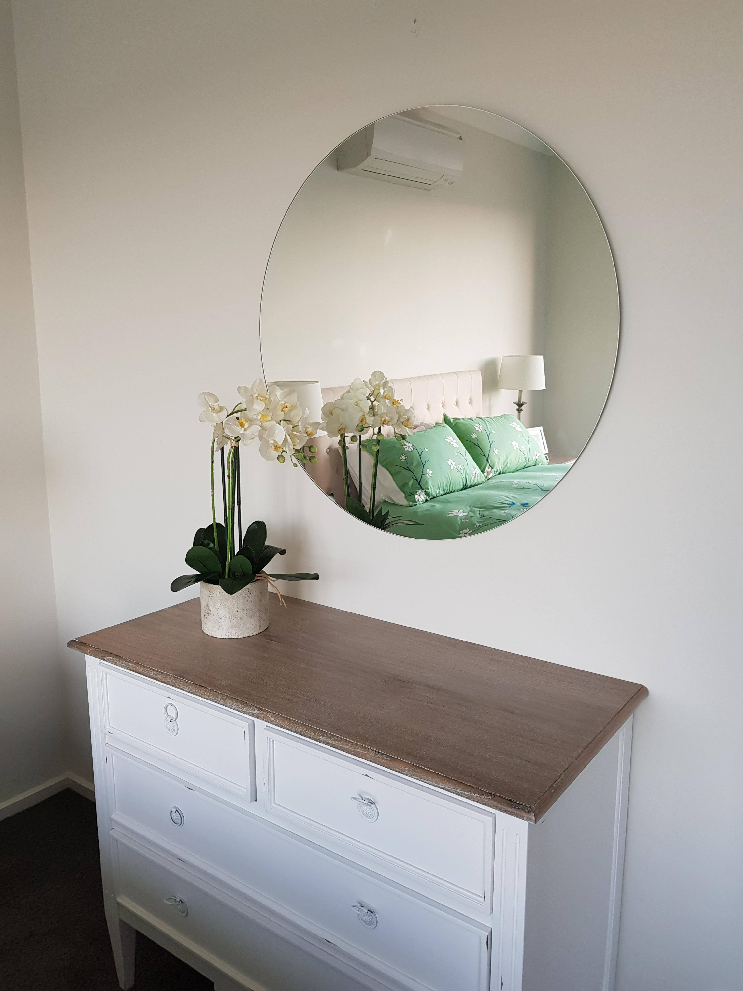 Frameless Large Wall Mirrors Intended For Well Liked Large Round Frameless Polished Edge Mirror Bathroom Or (View 17 of 20)