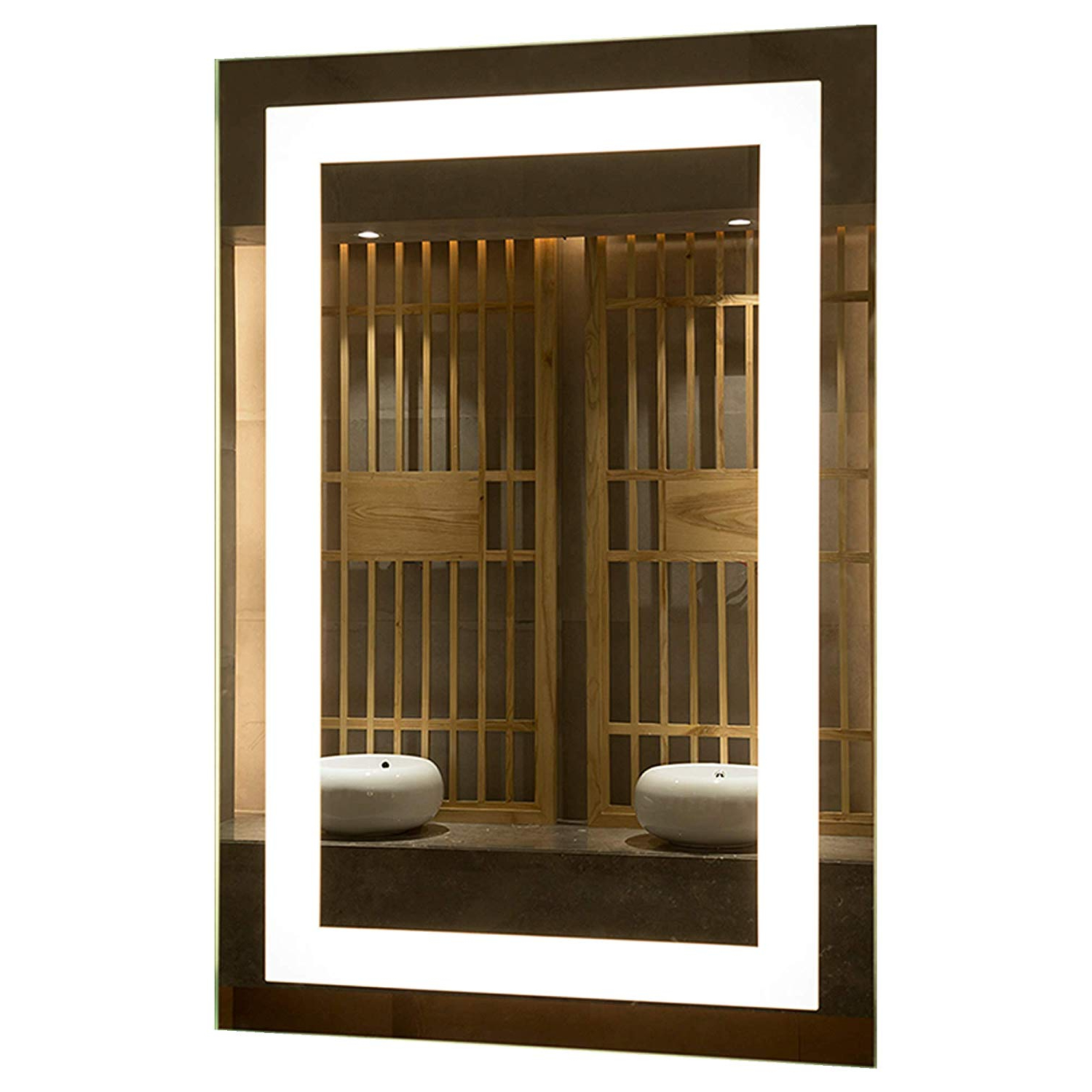 Frameless Polished Edge Silver  Backing With Rectangle Illuminated Frosted Strip (View 11 of 20)