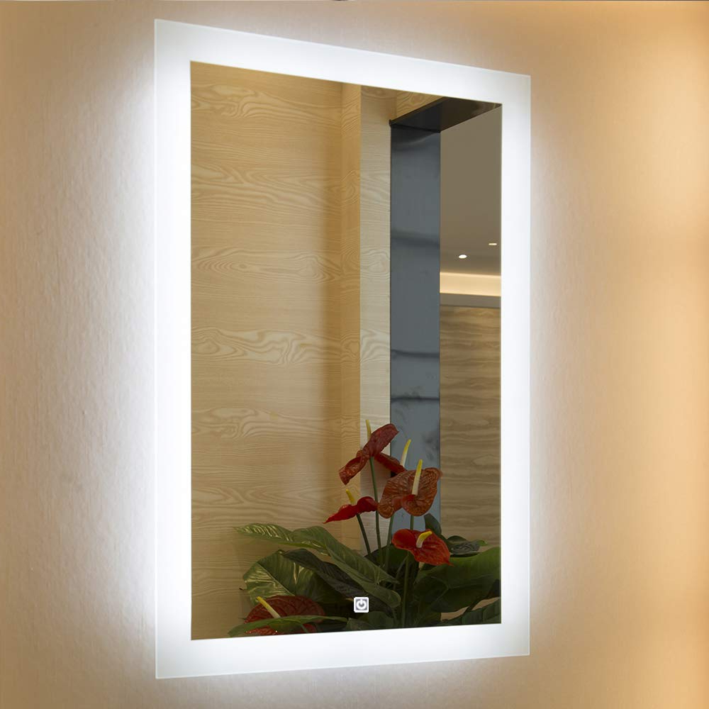 Frameless Polished Edge Silver  Backing With Rectangle Illuminated Frosted Strip (View 8 of 20)