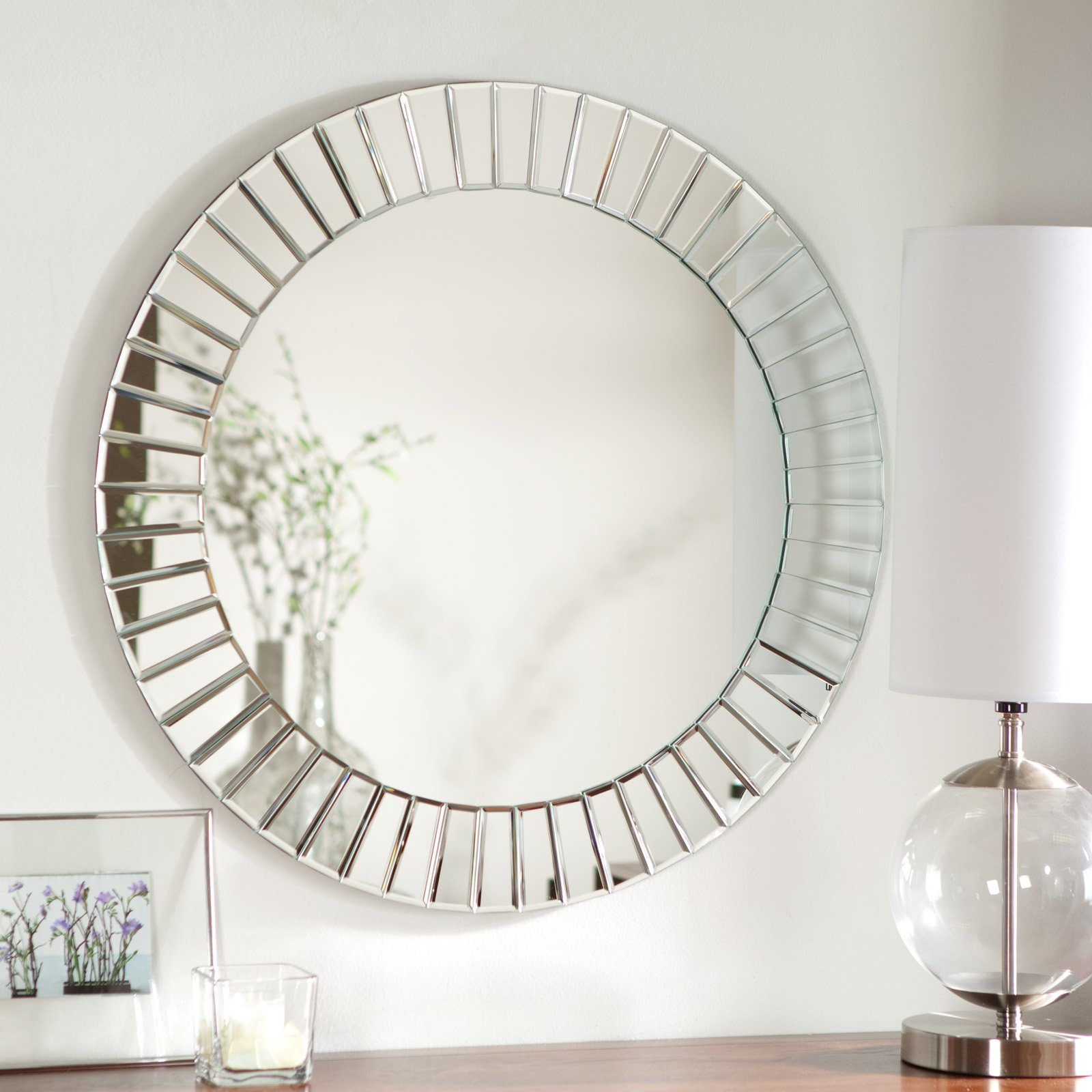 Frameless Round Wall Mirrors Inside Most Popular Remarkable Decorative Beveled Wall Mirrors Frame Large Three (View 9 of 20)