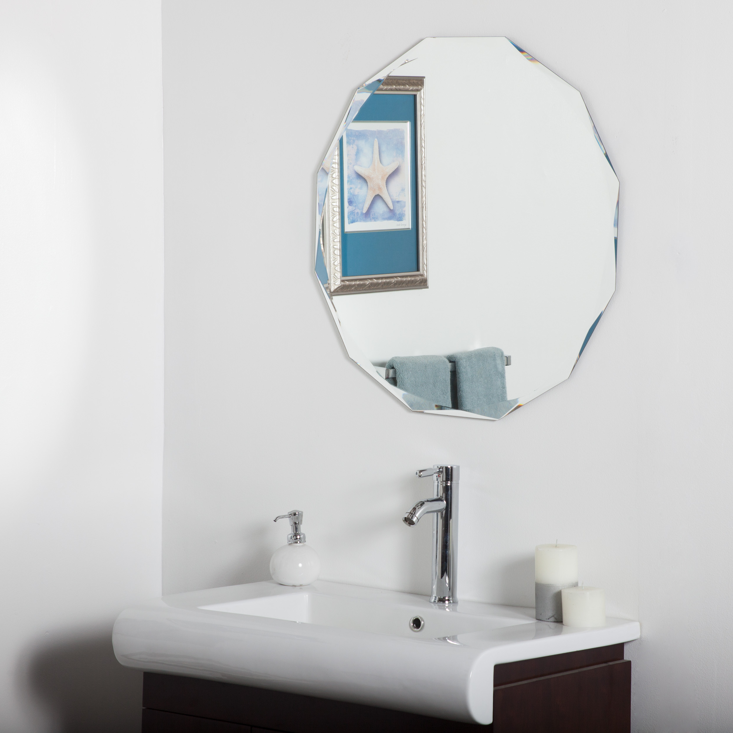 Frameless Round Wall Mirrors With Newest Décor Wonderland Frameless Diamond Wall Mirror 27.6 Inx (View 11 of 20)