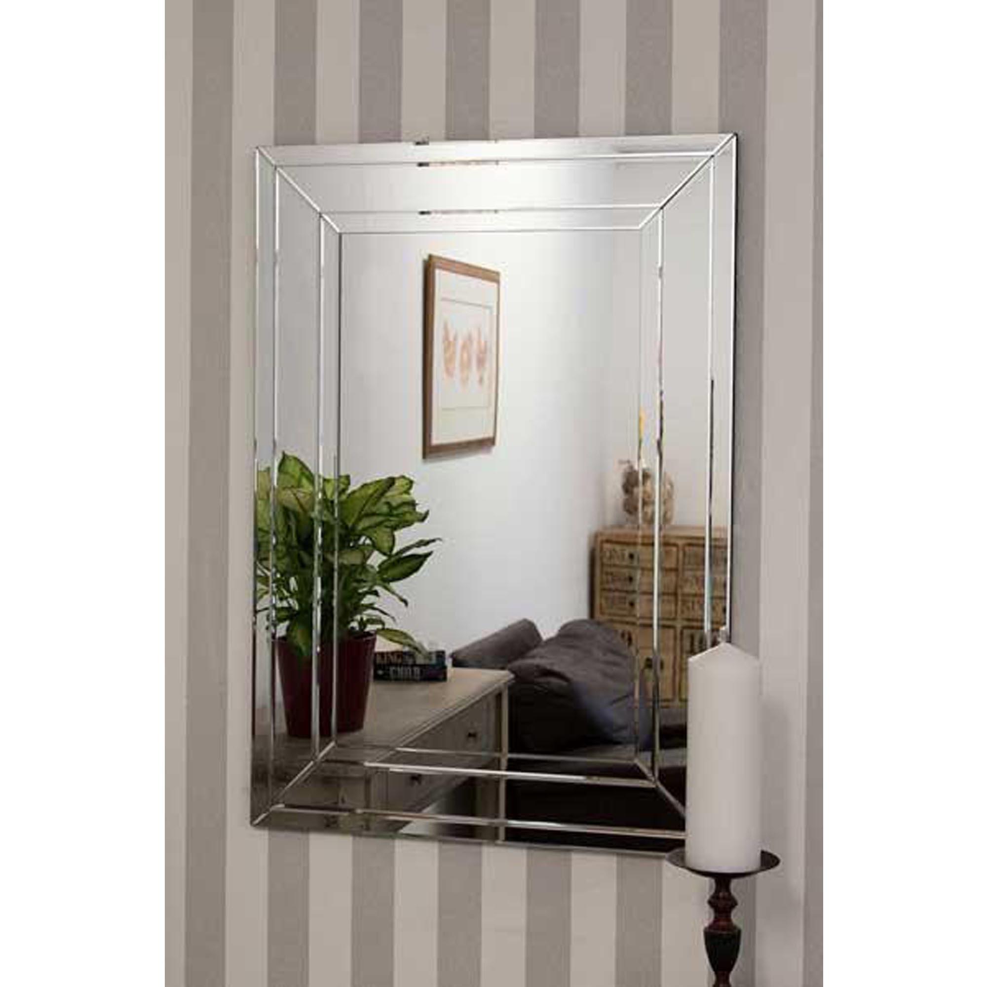 Frameless Wall Mirrors Regarding Preferred Detailed Venetian Frameless Wall Mirror (View 4 of 20)