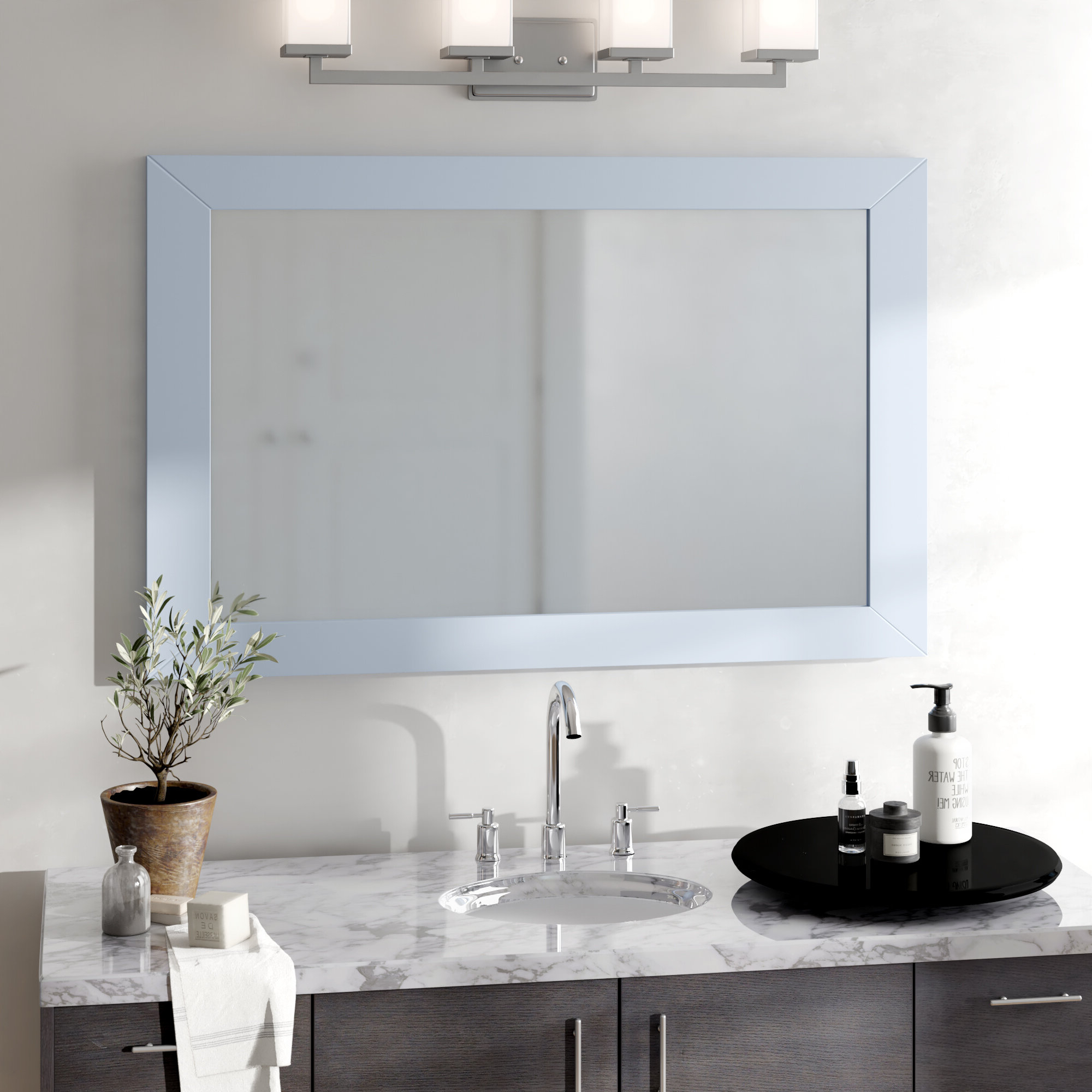 Frames For Bathroom Wall Mirrors Intended For Current Piccirillo Rectangle Framed Bathroom Wall Mirror (View 8 of 20)