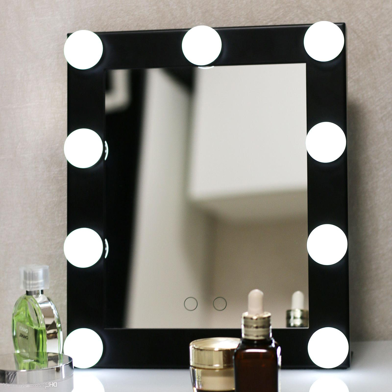 Free Shipping Hollywood Lighted Aluminum Table Desktop Wall Mounted Cosmetic Makeup Artist Salon Vanity Girl Mirror With Lights Bulbs Around With Regard To Fashionable Make Up Wall Mirrors (View 17 of 20)