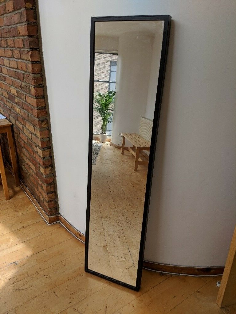 Full Length Black Ikea Stave Mirror For Sale (View 4 of 20)