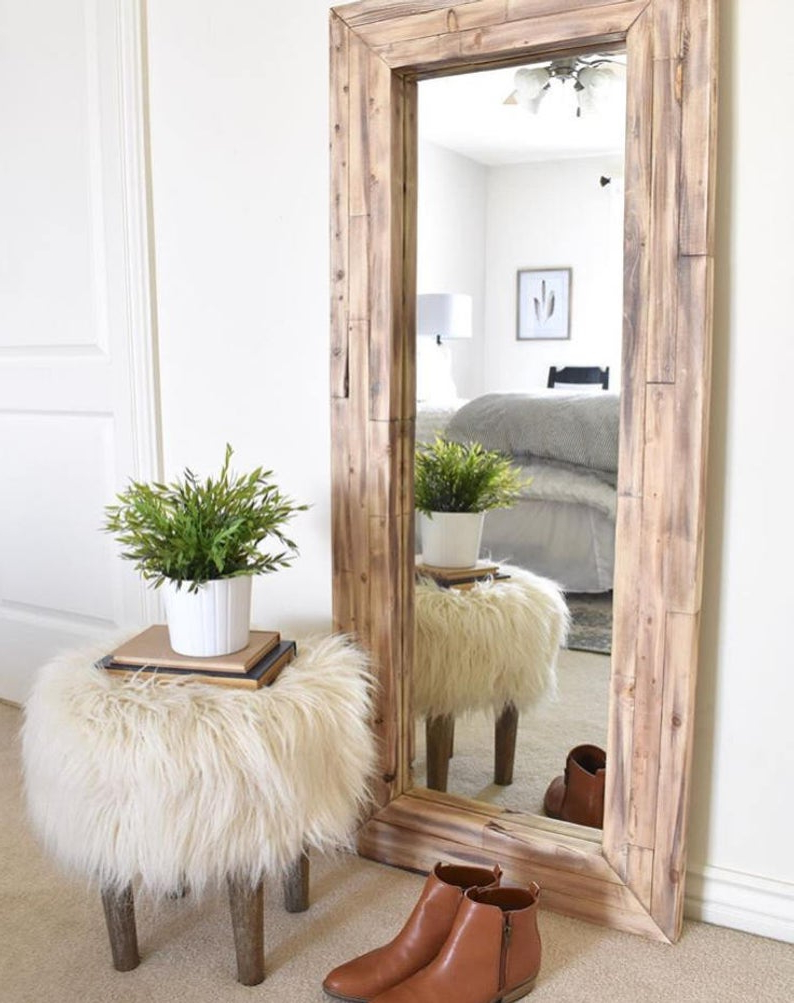 Full Length Mirror, Wall Mirror, Floor Rustic Mirror, Corner Decor,  Farmhouse, Rh Diy Finish Regarding Newest Wall Mirrors Full Length (View 3 of 20)