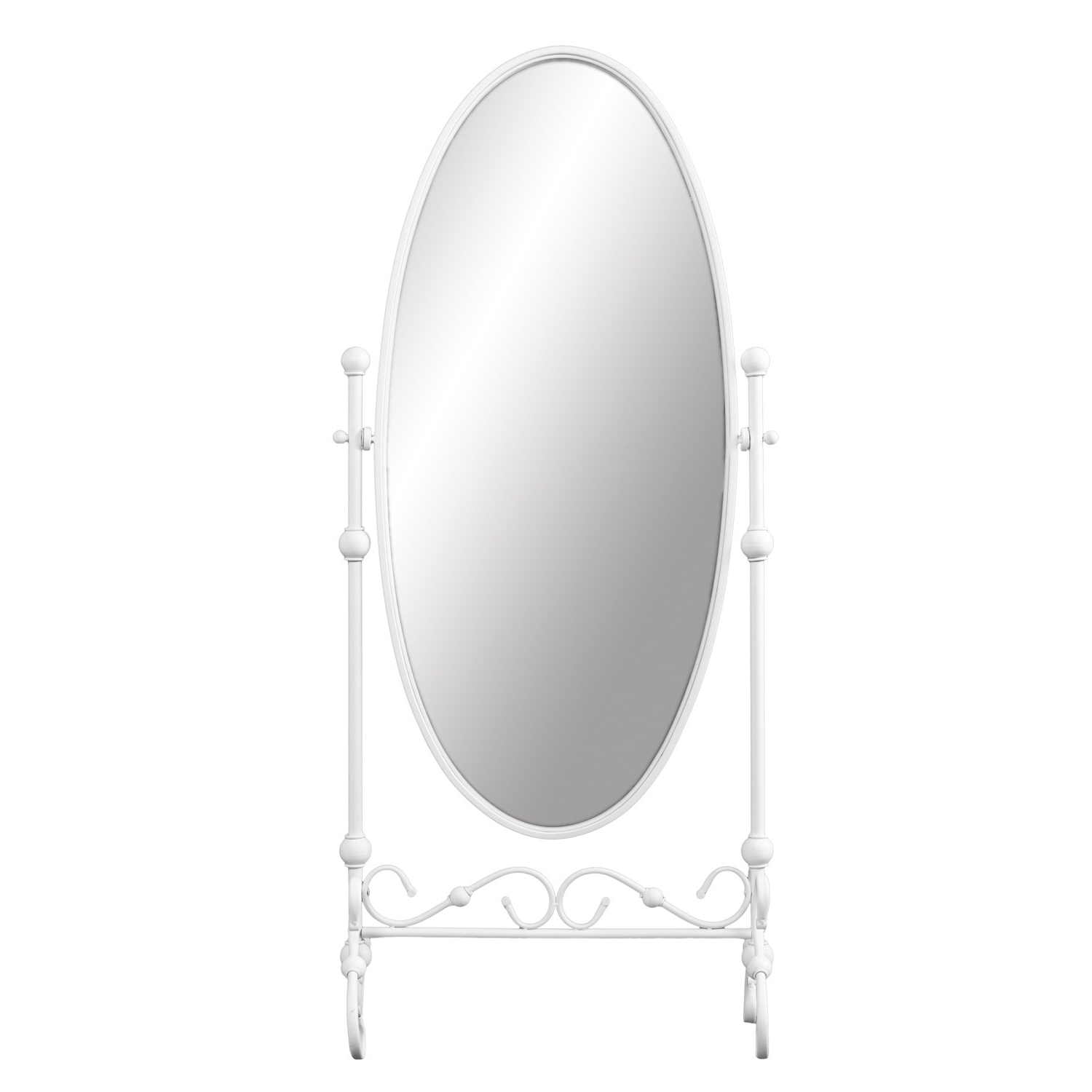 Full Length Oval Wall Mirrors Intended For Well Known Amazon: Furniture Hotspot Oval Cheval Mirror – White (View 13 of 20)