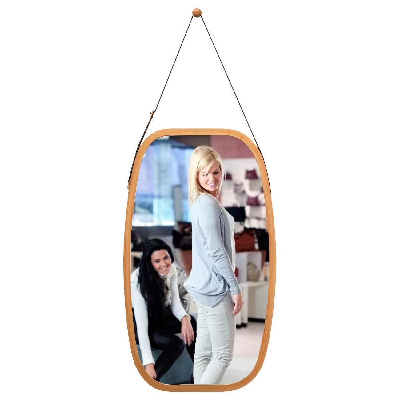 Full Length Wall Mirror Hanging In Bathroom & Bedroom – Solid Bamboo Frame  & Adjustable Leather Strap, Makeup Dressing Home Decor (Bamboo, 29L 17W Throughout Most Popular Bamboo Framed Wall Mirrors (View 10 of 20)