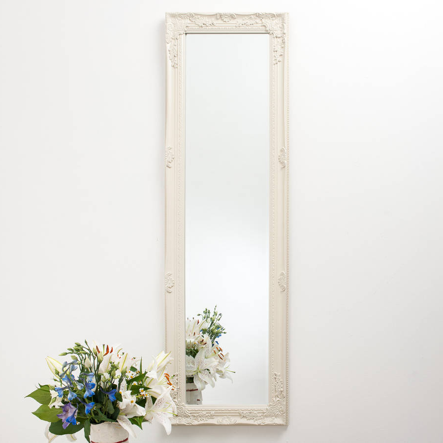 Full Size Wall Mirrors With Well Liked Full Length Ornate Vintage Mirror Cream (View 9 of 20)