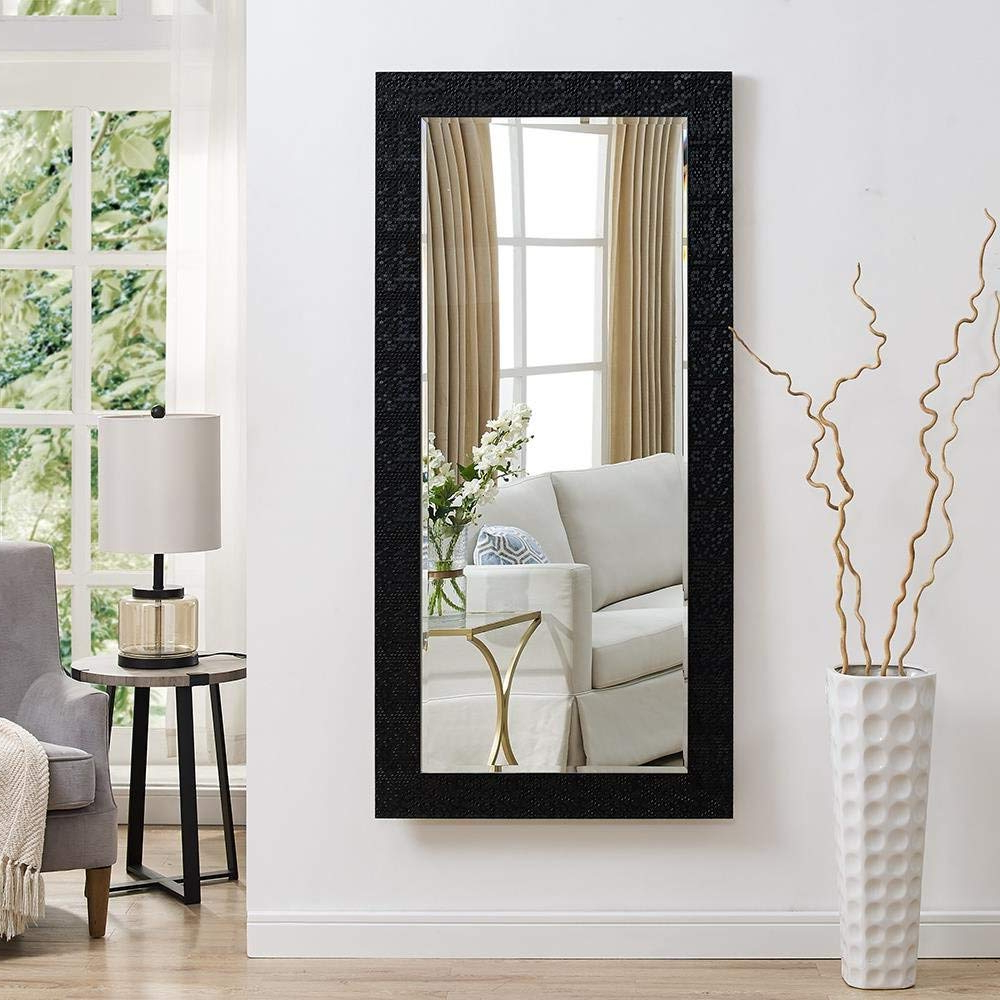 Full Size Wall Mirrors With Well Liked Seven Horses Full Length Black Fiber Wood Wall Mirror (19x39 Inch) (View 4 of 20)