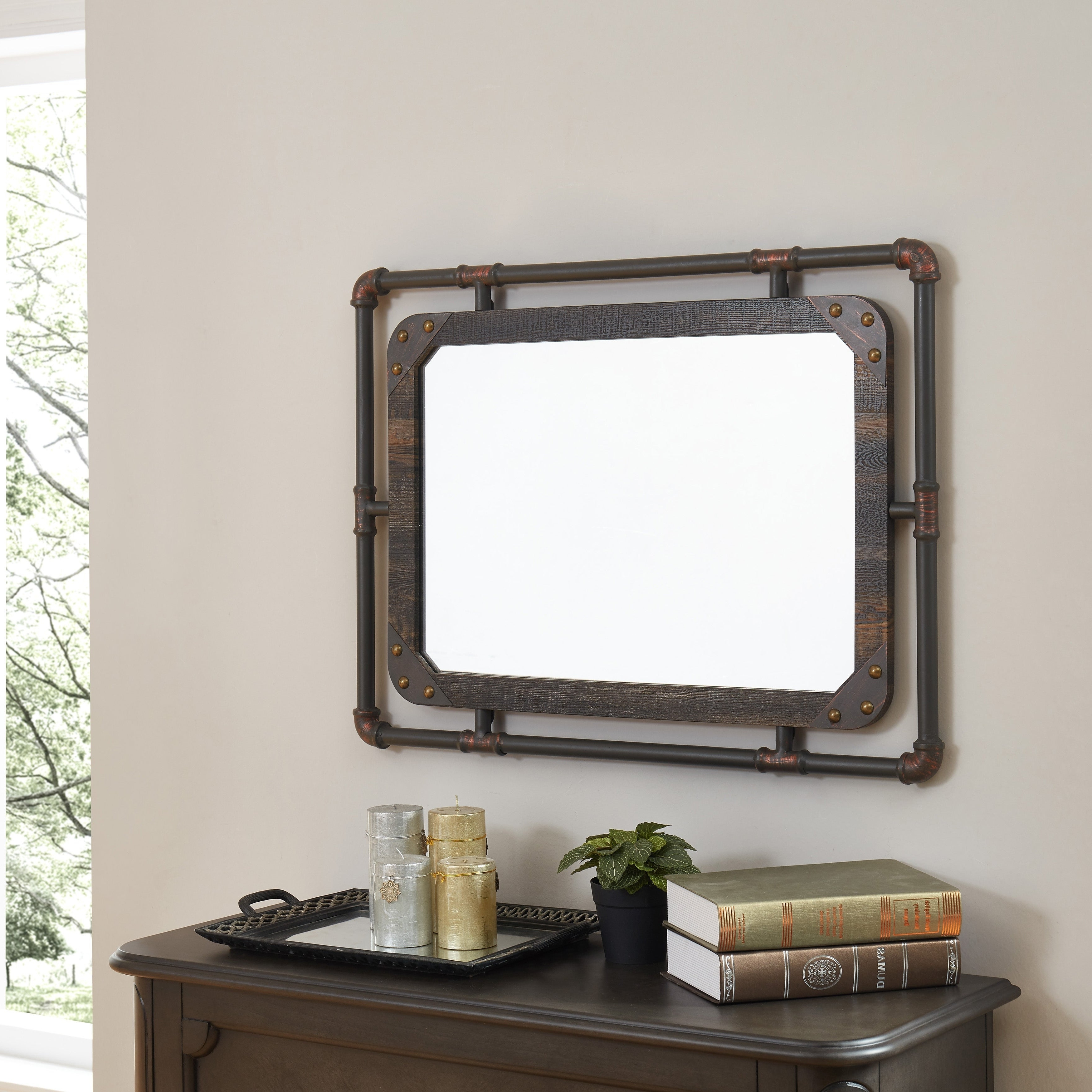 Furniture Of America Revo Industrial Distressed Wall Mirror Inside Most Up To Date Rectangle Antique Galvanized Metal Accent Mirrors (View 13 of 20)