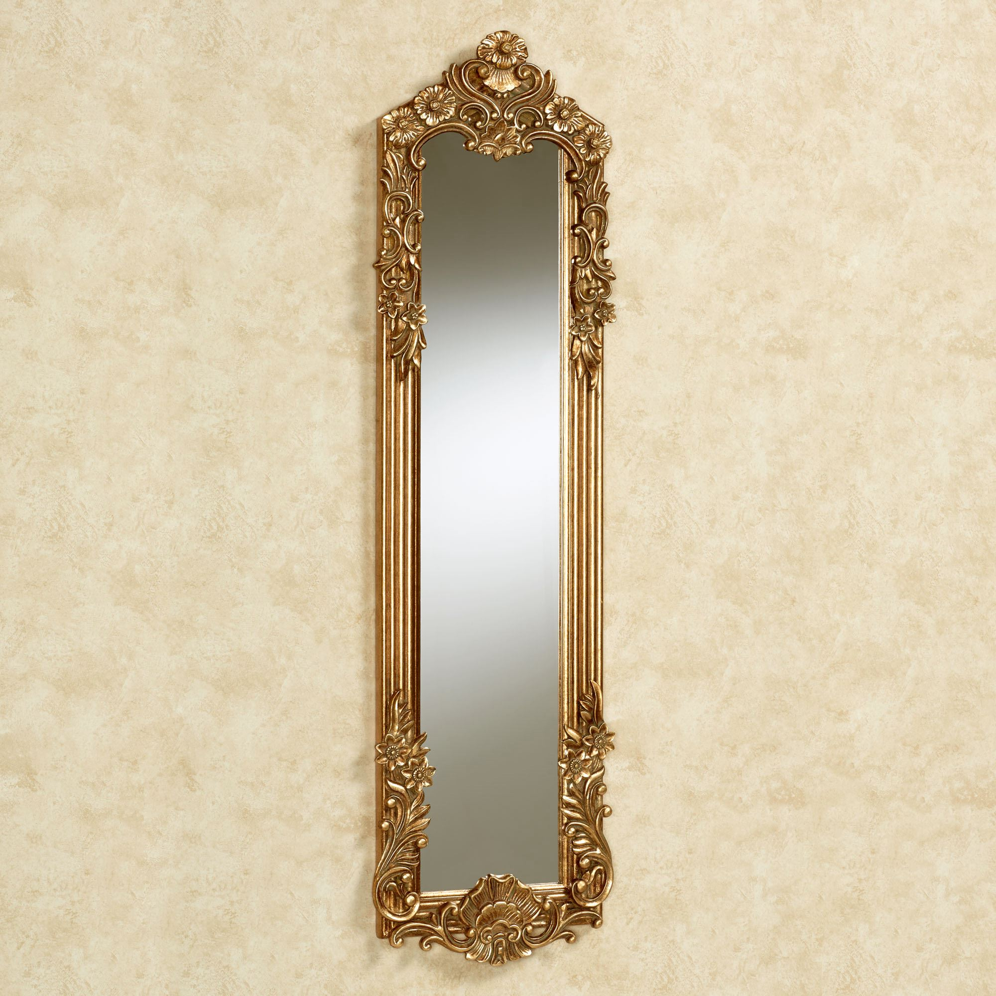 Gadsden Dark Gold Small Floral Wall Mirror Panel Throughout Most Popular Small Gold Wall Mirrors (View 9 of 20)