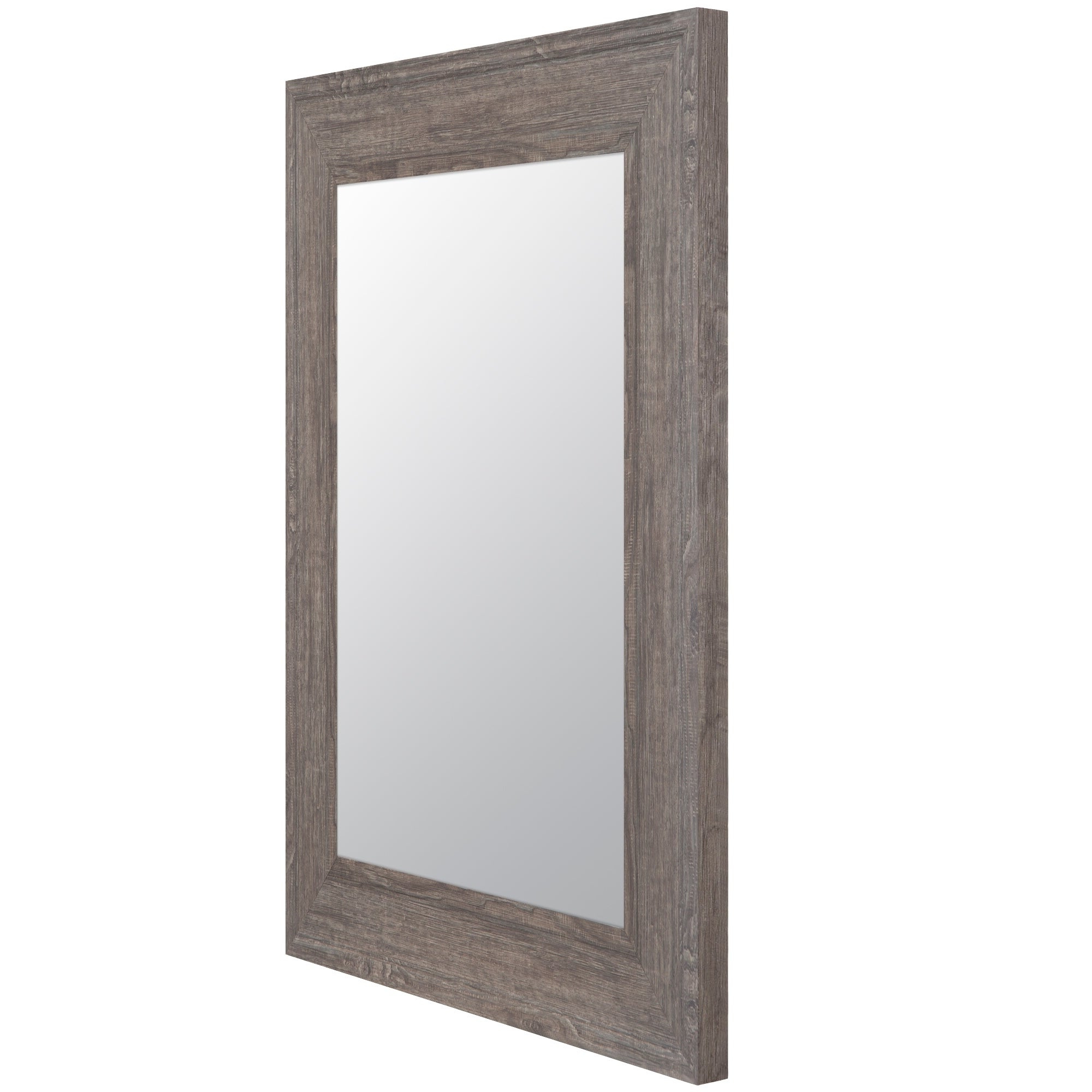 Gallery Solutions Graywash Woodgrain Framed Accent Wall Mirror – Grey Throughout Trendy Farmhouse Woodgrain And Leaf Accent Wall Mirrors (View 6 of 20)