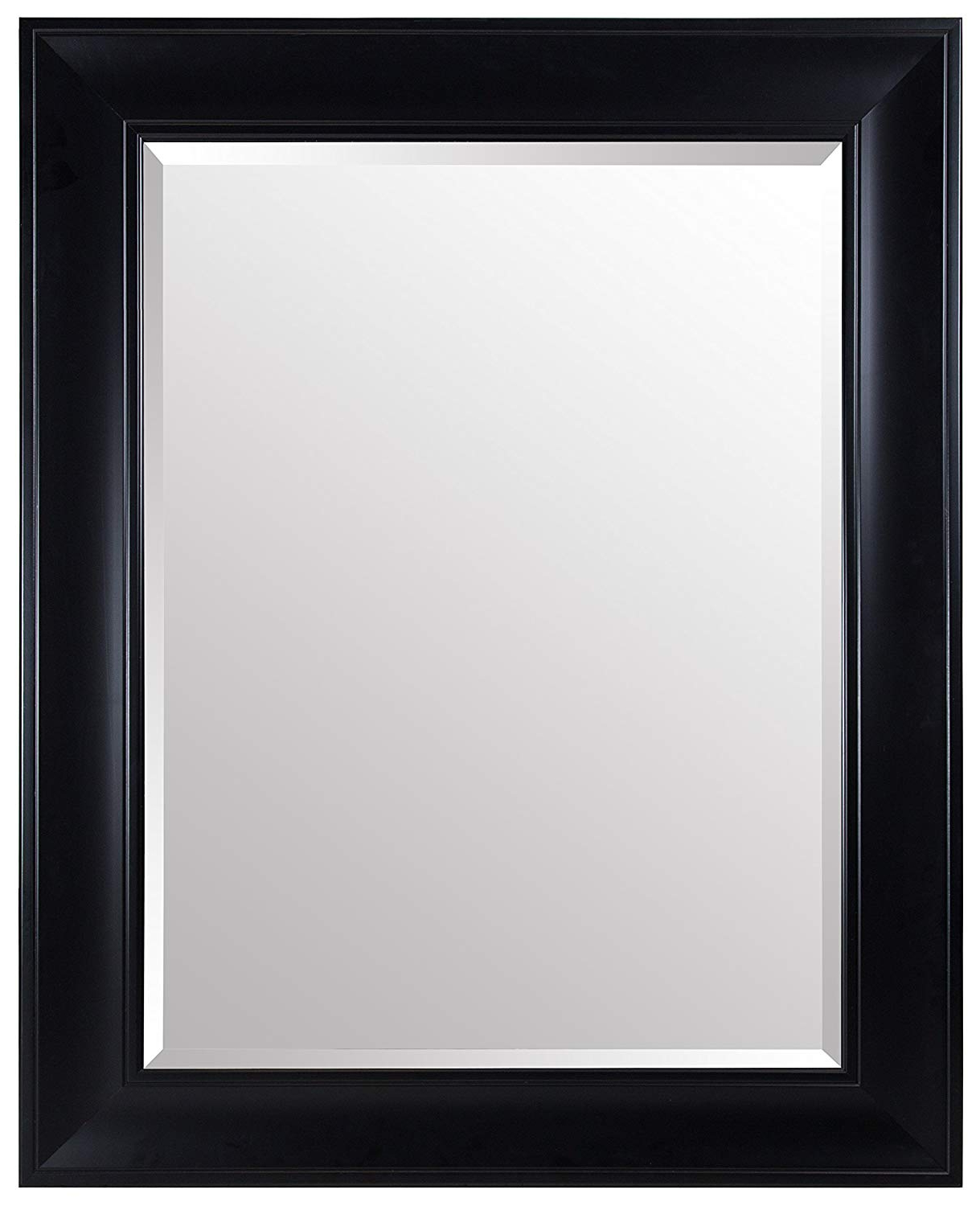 "Gallery Solutions Large 29X39 Wall Satin Frame Black 29""x39"" Inch Beveled Mirror W/wide Profile, Throughout Most Recent Large Wall Mirror Without Frame (View 12 of 20)"