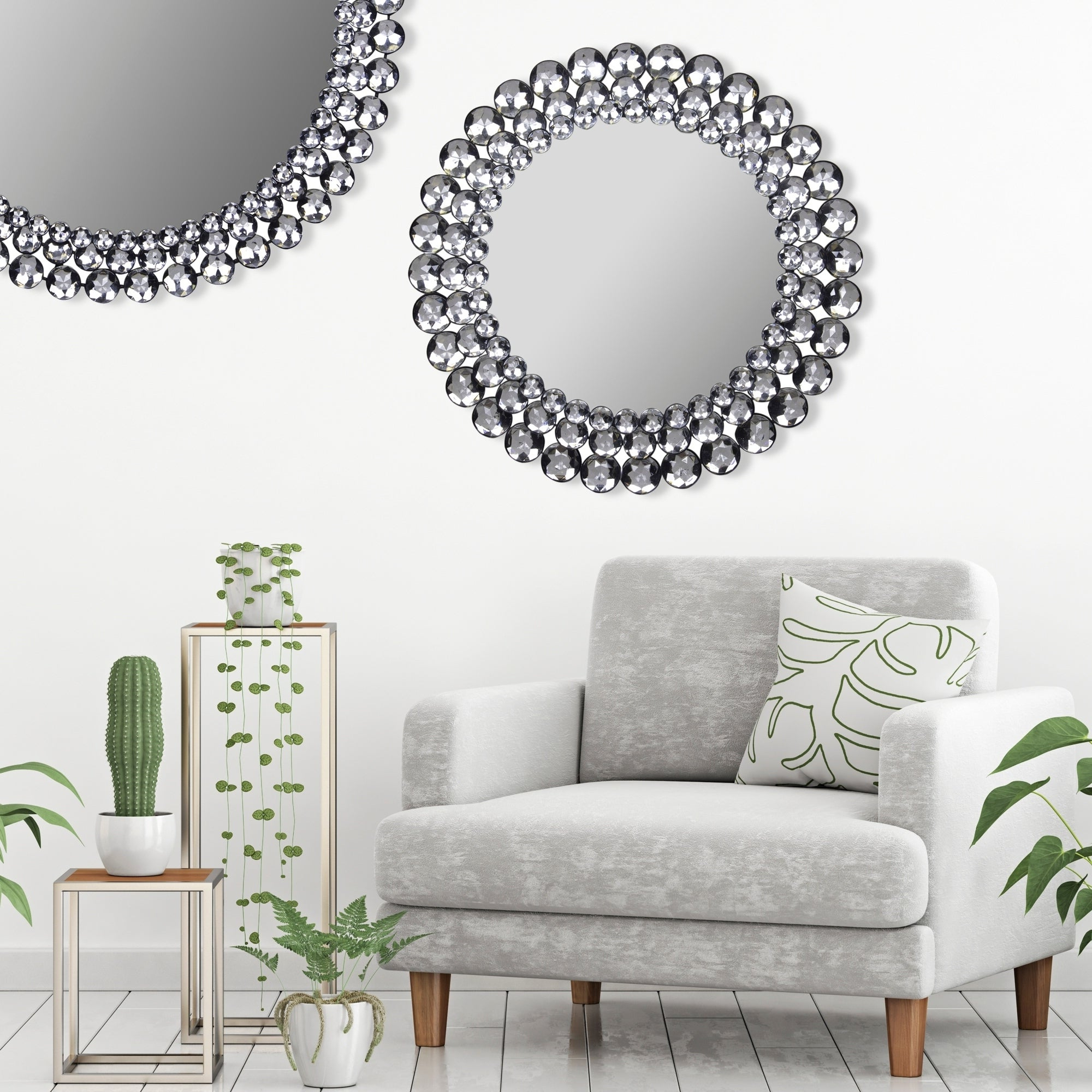 Gallery Solutions Silver Round Jeweled Wall Mirror In Recent Living Room Wall Mirrors (View 18 of 20)