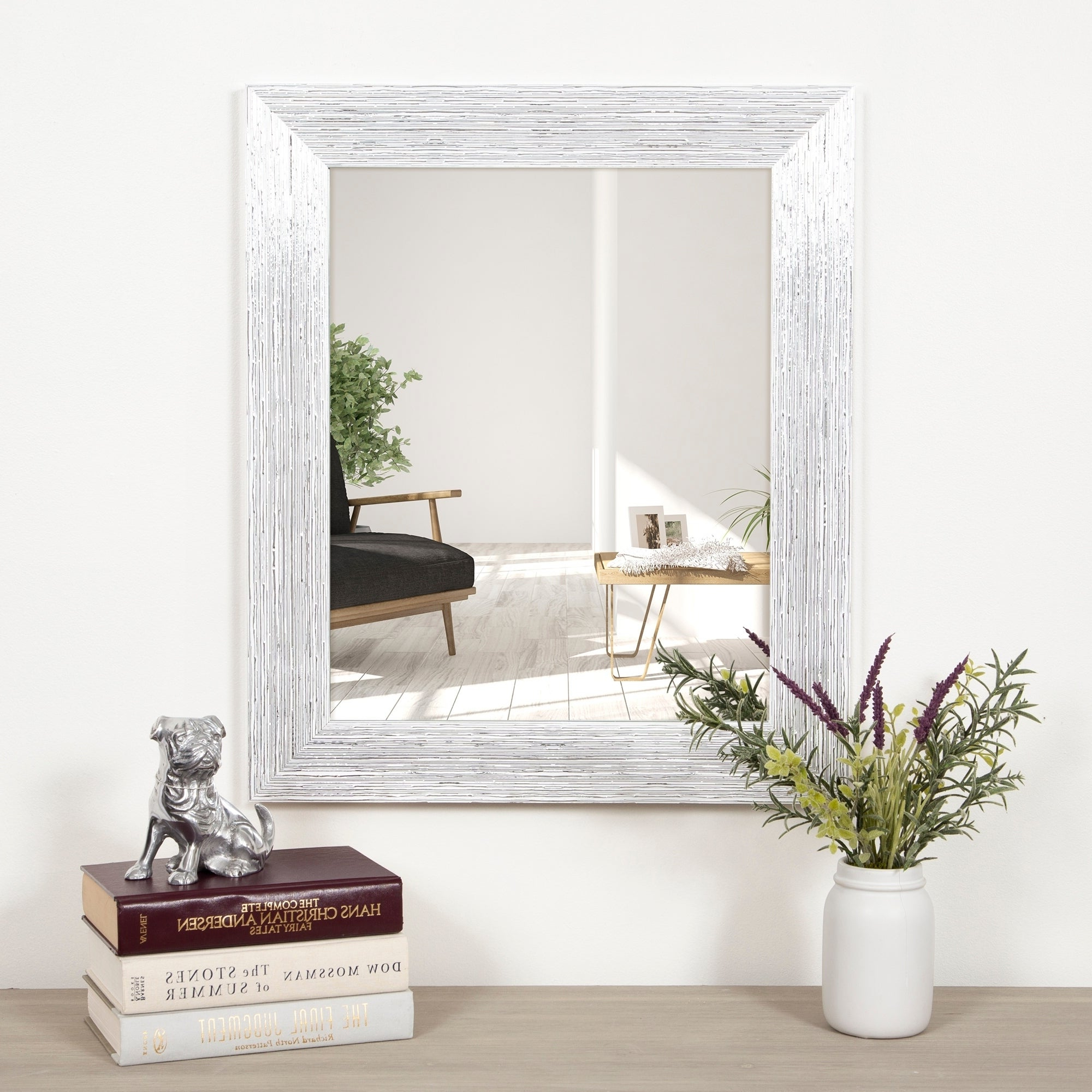 Gallery Solutions Textured White And Silver Framed Accent Wall Mirror Regarding Most Current Accent Wall Mirrors (View 3 of 20)