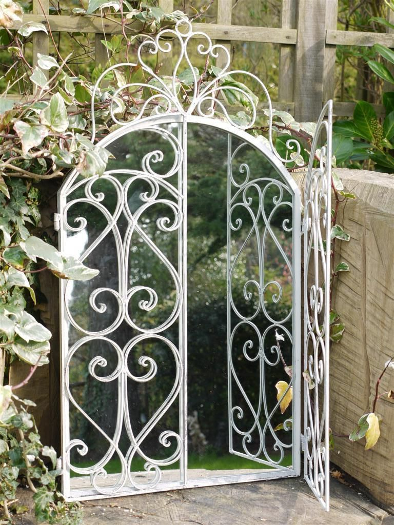 Garden Wall Mirrors In Most Popular Arched White Garden Wall Mirror Window Metal Frame Working Shutter (View 16 of 20)