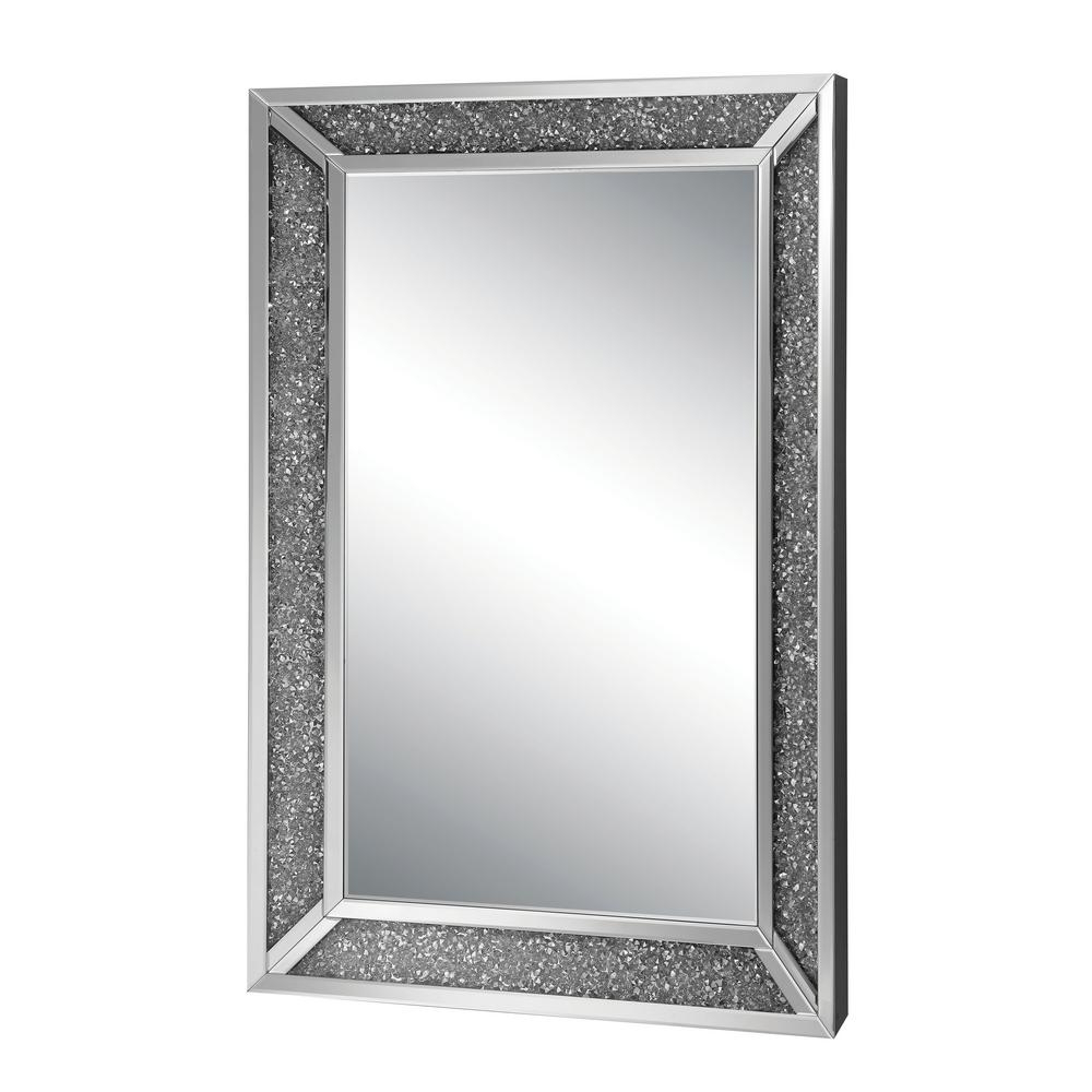 Genevive Rectangle Silver Chrome Decorative Wall Mirror In Latest Chrome Wall Mirrors (View 11 of 20)