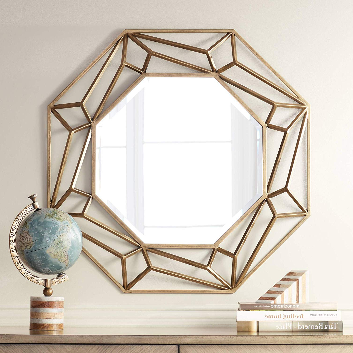 """Geometric Wall Mirrors Intended For Widely Used Amazon: Noble Park Jerica Gold 35 1/2"""" Octagon Geometric (View 14 of 20)"""