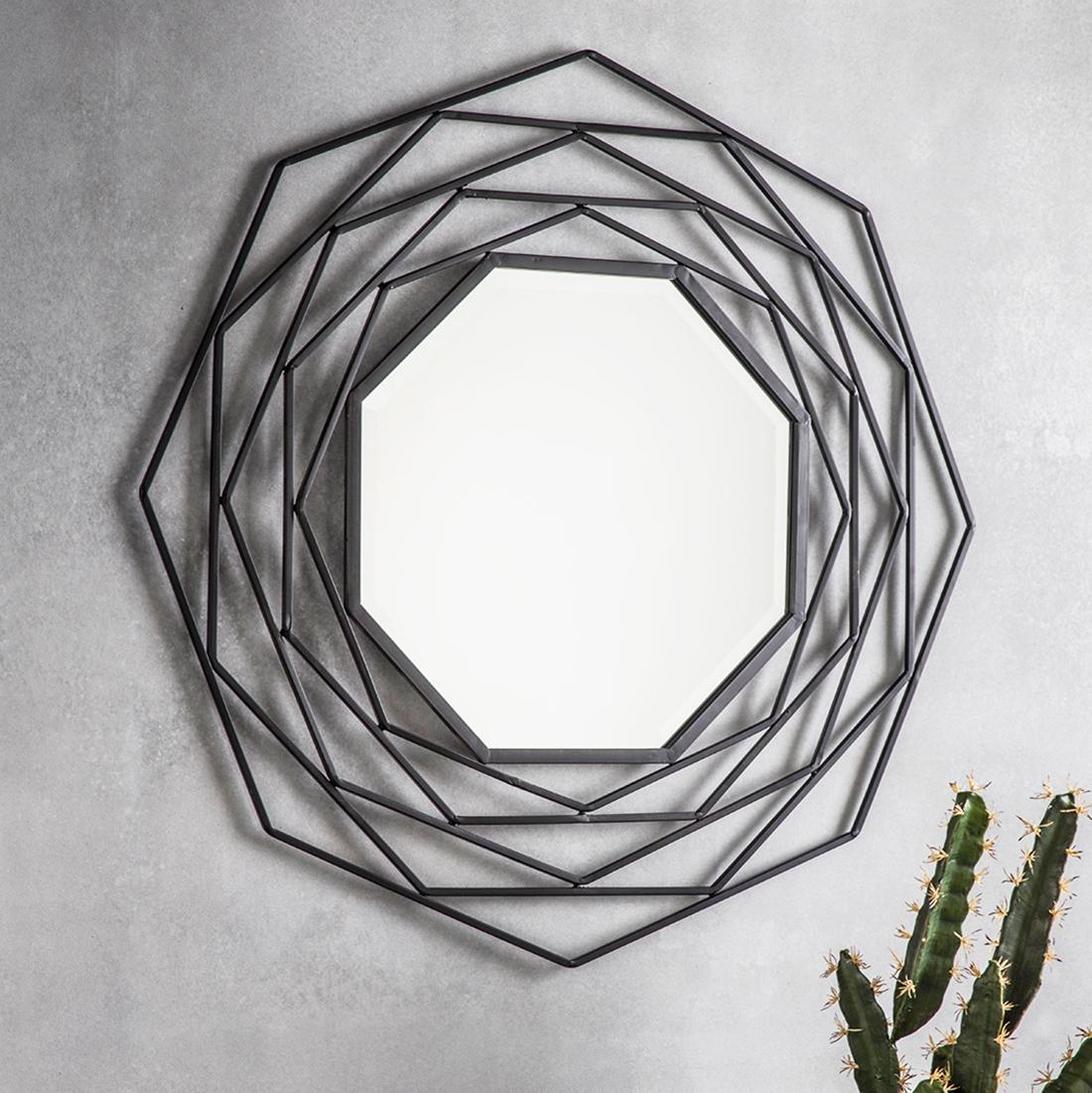 Geometric Wall Mirrors Regarding Well Known Octagonal Black Geometric Wall Mirror (View 6 of 20)