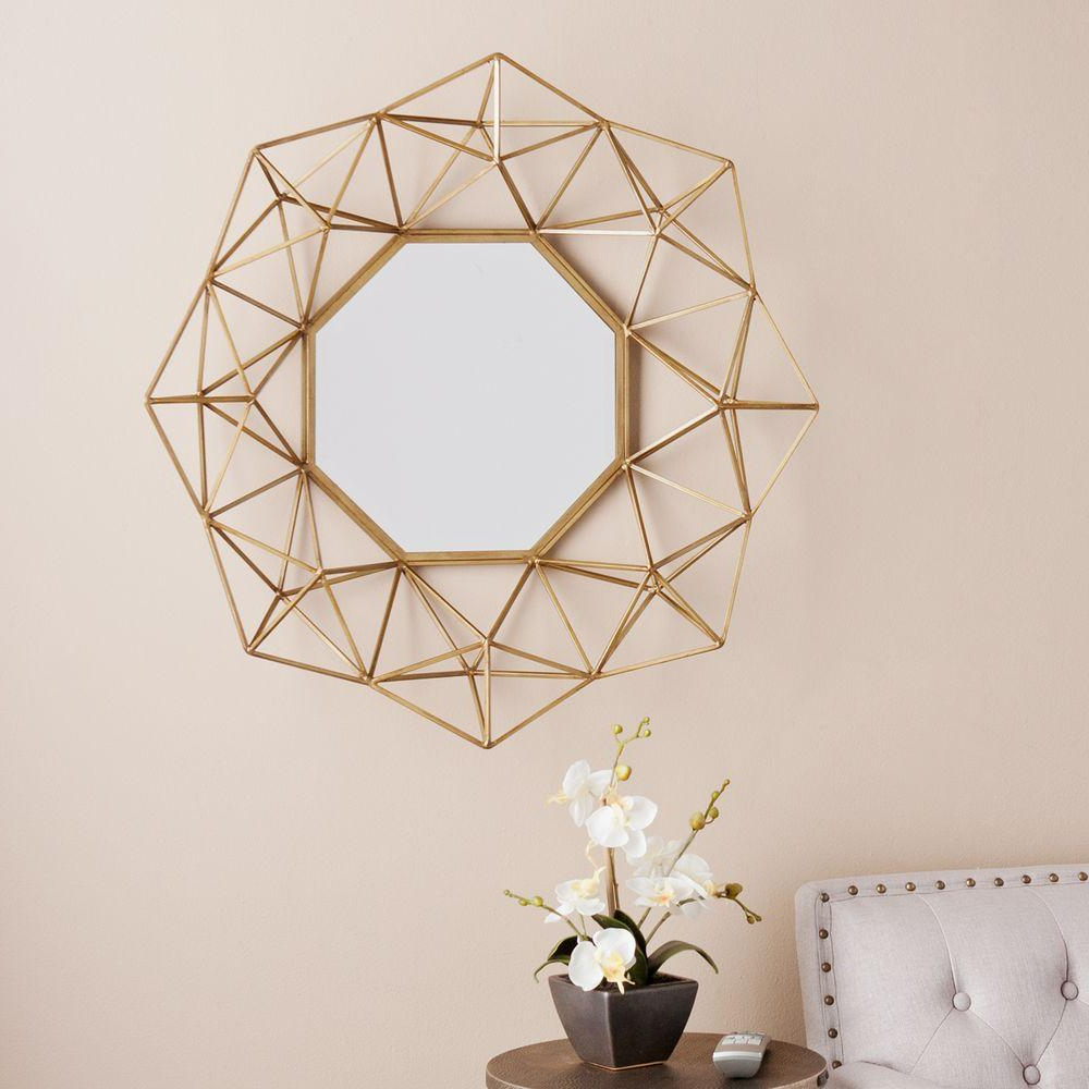 Geometric Wall Mirrors Throughout Favorite Southern Enterprises Flagler 29 In. H X 30 In (View 8 of 20)