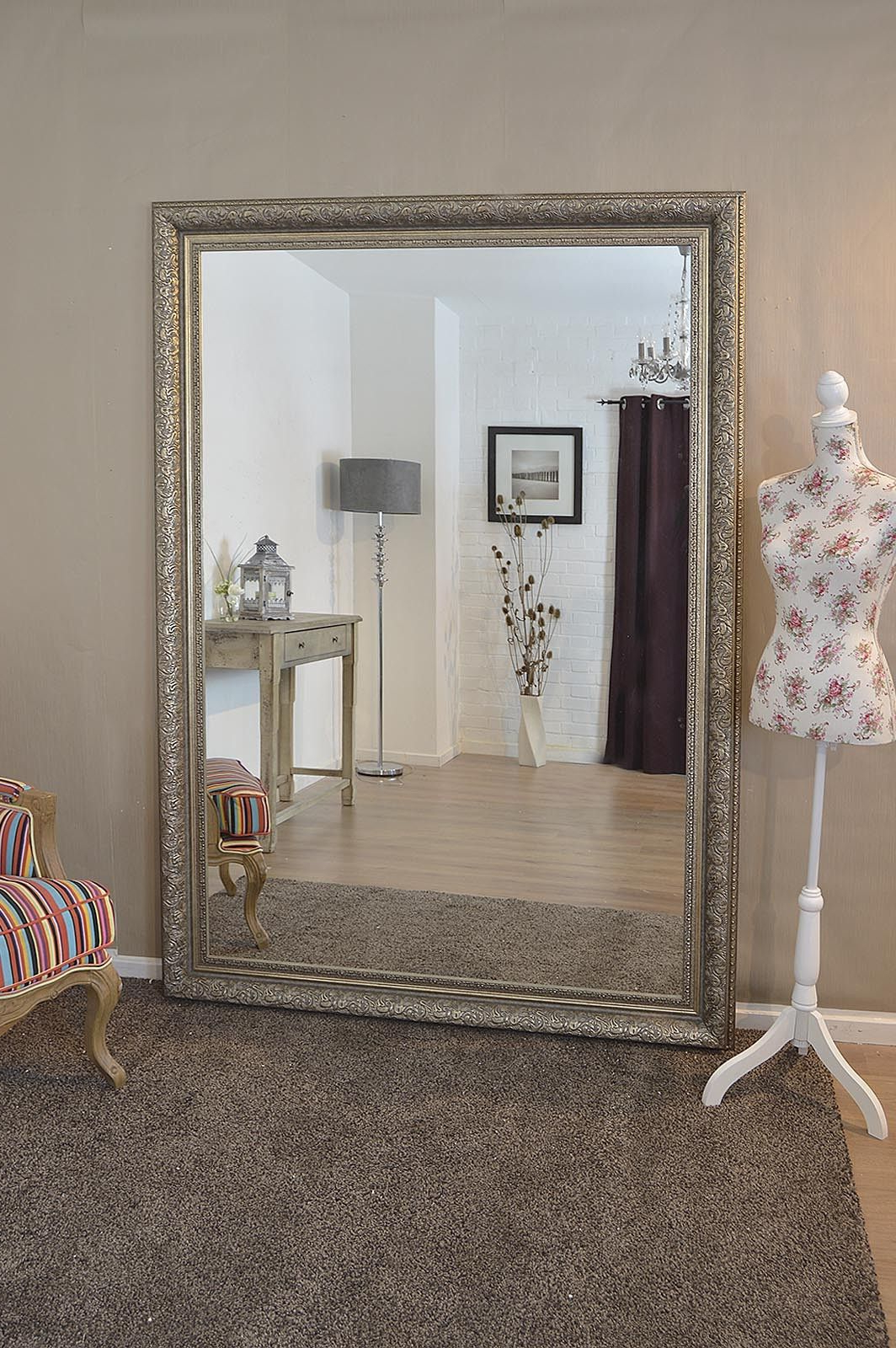 Giant Wall Mirrors With Fashionable Large Silver Ornate Decorative Big Wall Mirror 7ft X 5ft (208cm X (View 5 of 20)