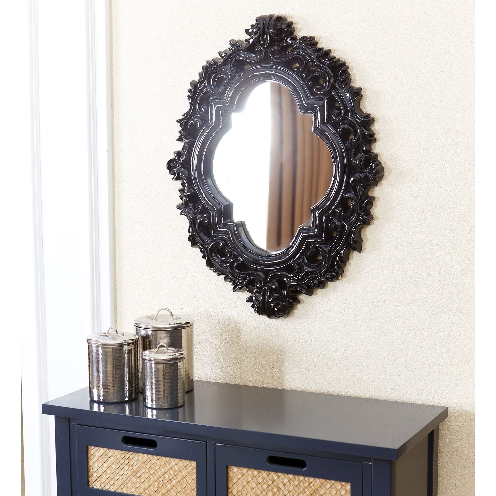 Gingerich Resin Modern & Contemporary Accent Mirrors Within Most Recently Released An Ornate And Thick Black Frame Adds Drama And Style To This (View 14 of 20)