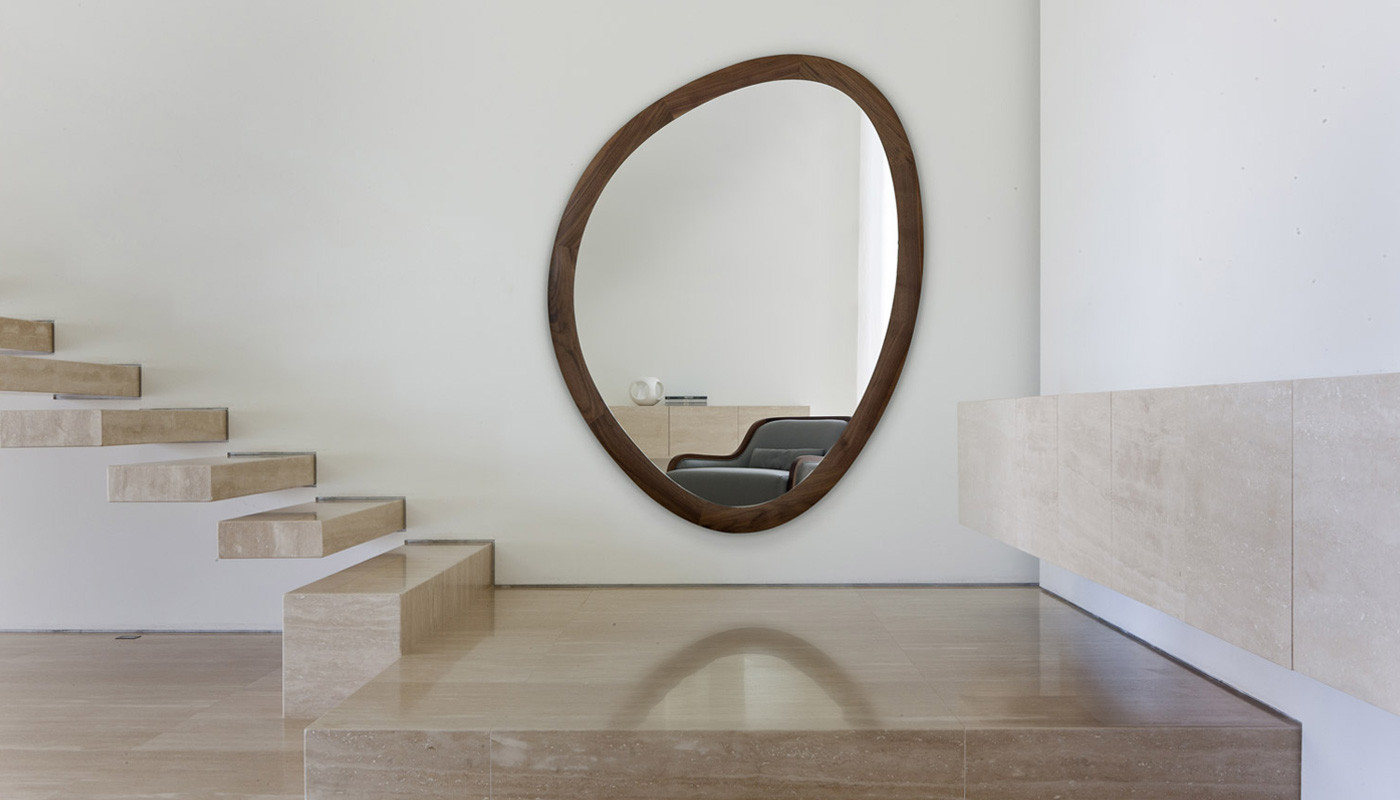 Giolo Wall Mirror Walnut Large Intended For Most Current Walnut Wall Mirrors (View 8 of 20)