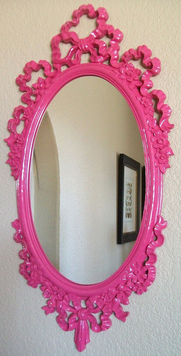 Girls Pink Wall Mirrors For Well Known Hot Pink Pink Any Color Weddings Girls Nursery Ribbons Bows 13x (View 6 of 20)