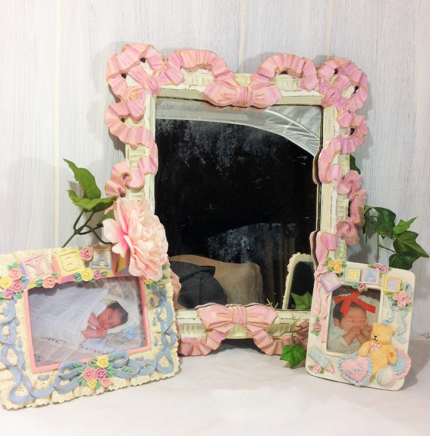 Girls Pink Wall Mirrors Pertaining To Famous Decorative Wall Mirror, Pink Ribbons Bows Mirror, Girl's Nursery Wall Decor Mirror, Shabby Pink White Mirror, Vintage Mirror, Wall Gallery (View 19 of 20)