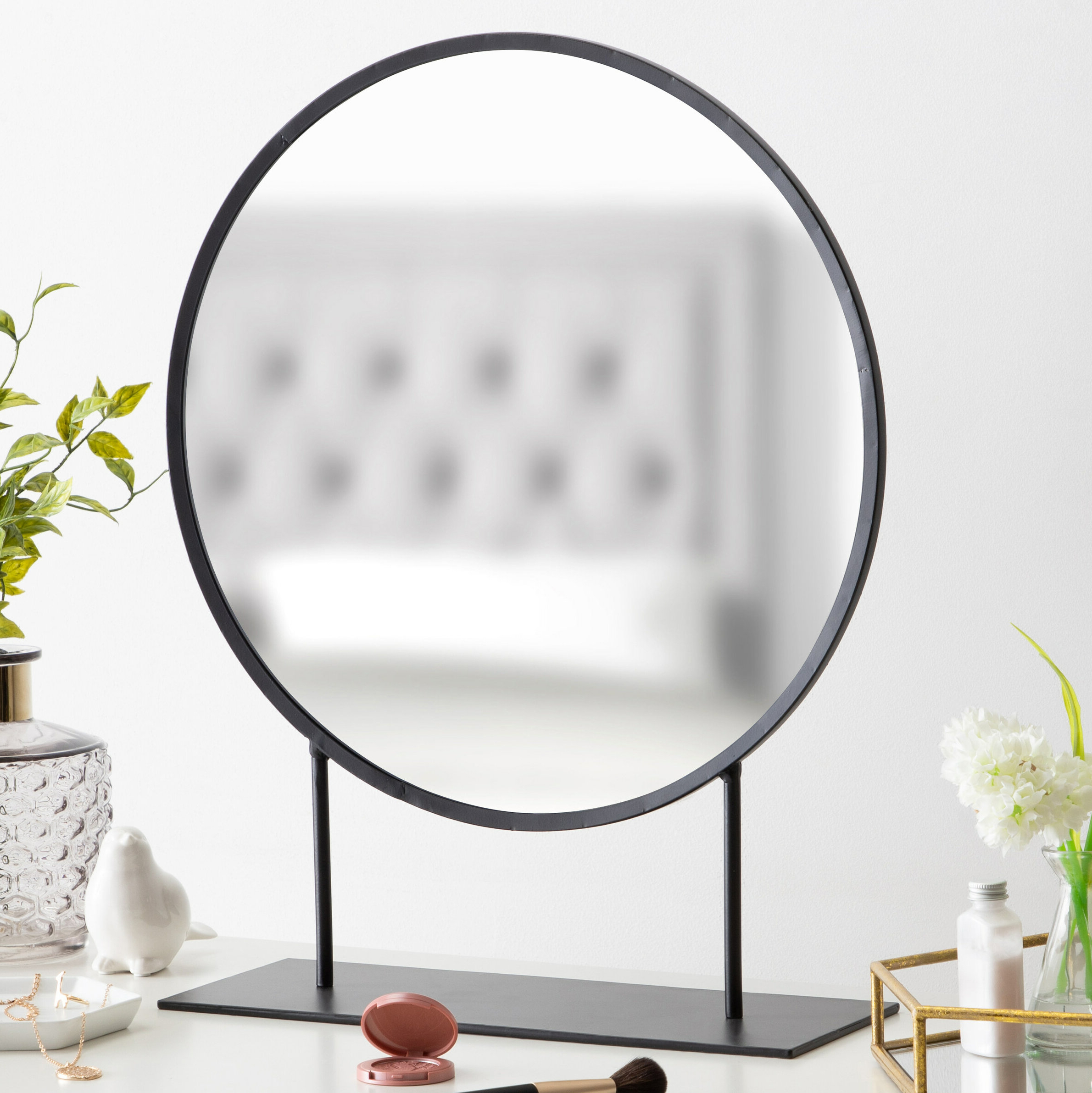 Glam Beveled Accent Mirrors Intended For Famous Loftin Modern Glam Round Beveled Accent Mirror (View 9 of 20)