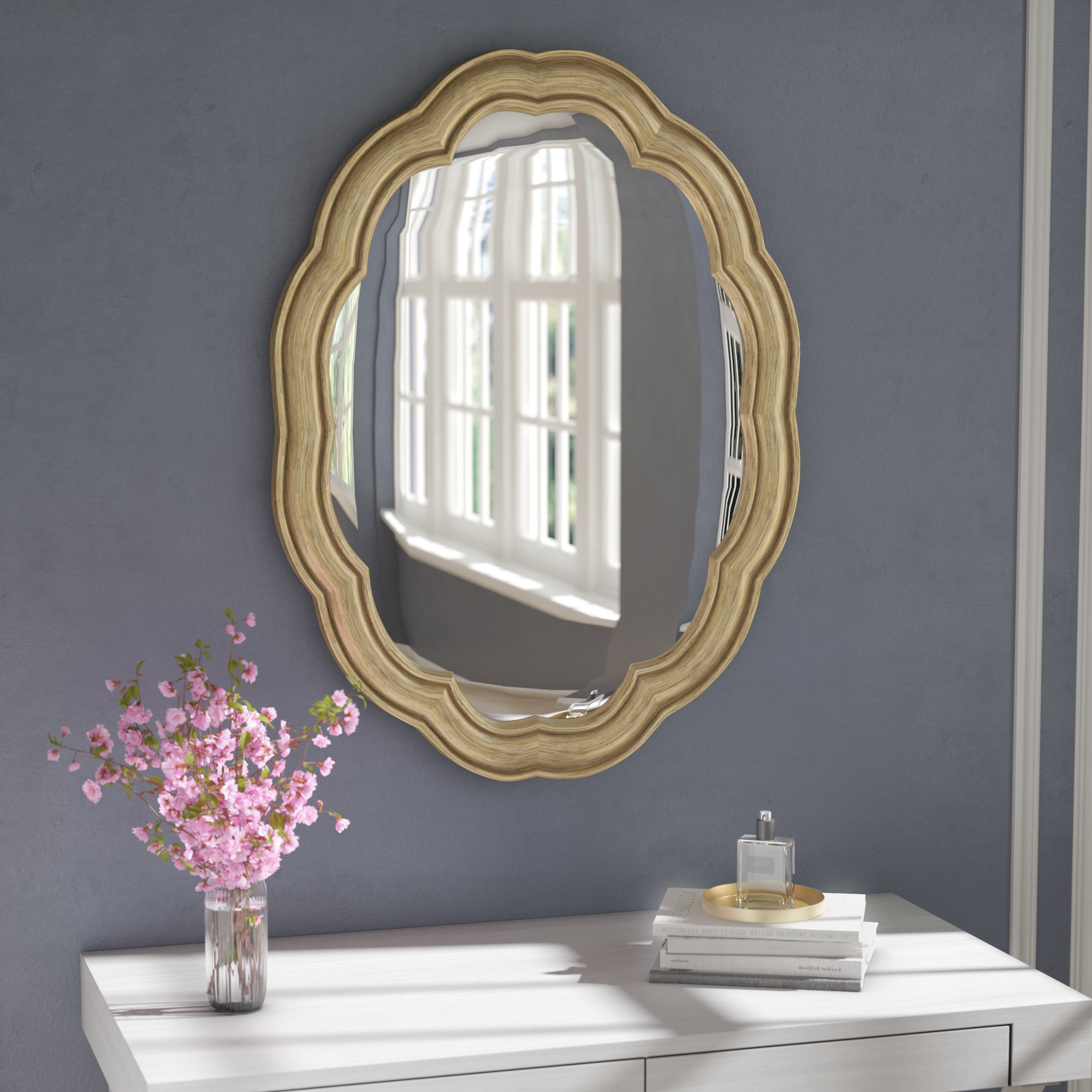 Glam Oval Accent Wall Mirror Throughout Most Up To Date Broadmeadow Glam Accent Wall Mirrors (View 3 of 20)