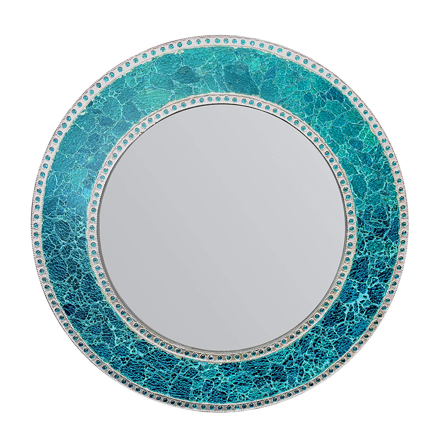 Glass Mosaic Wall Mirrors In Well Liked Decorshore 24 Inch Round Crackled Glass Mosaic Wall Mirror, Sapphire (View 17 of 20)
