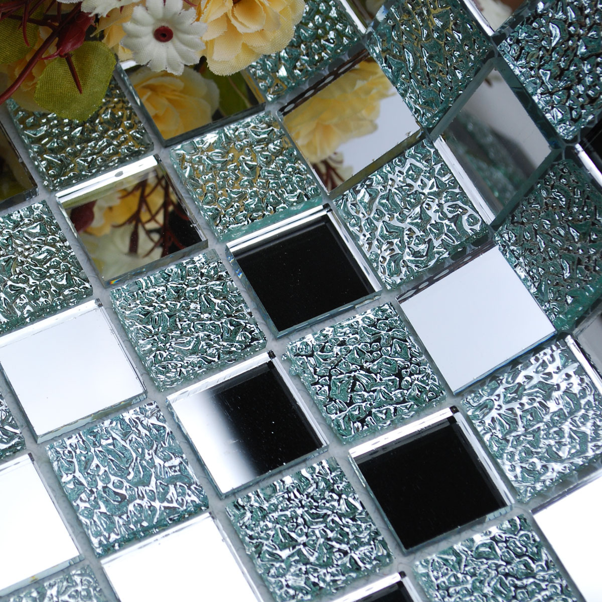 Glass Mosaic Wall Mirrors Inside Well Known Wholesale Mirror Tile Squares Blue Bathroom Mirrored Wall Tile Backsplash 1 Inch Glass Mosaic Tiles Decorative (View 13 of 20)
