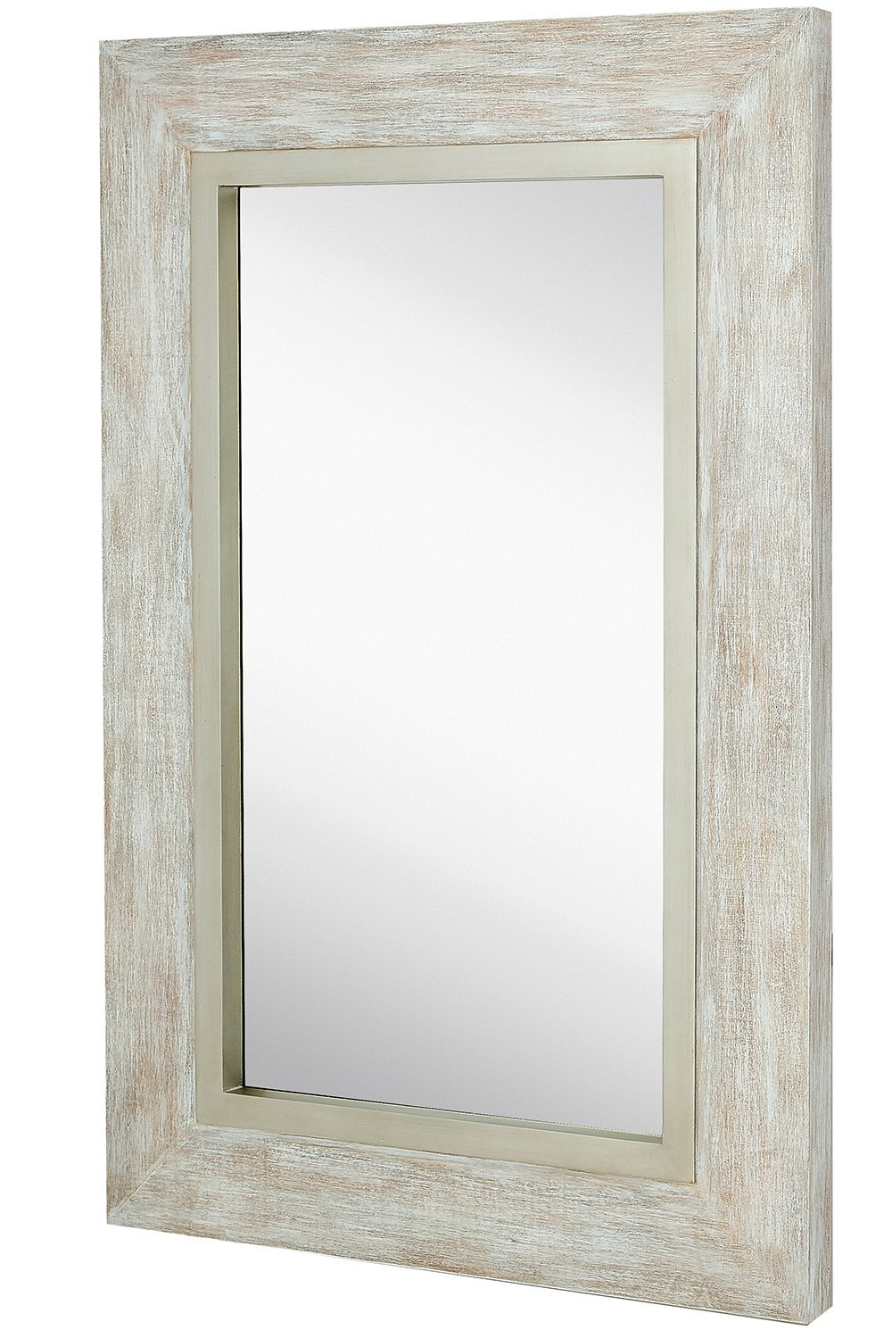 Glass Wall Mirrors With Regard To Most Recent Hamilton Hills Large White Washed Framed Mirror (View 16 of 20)