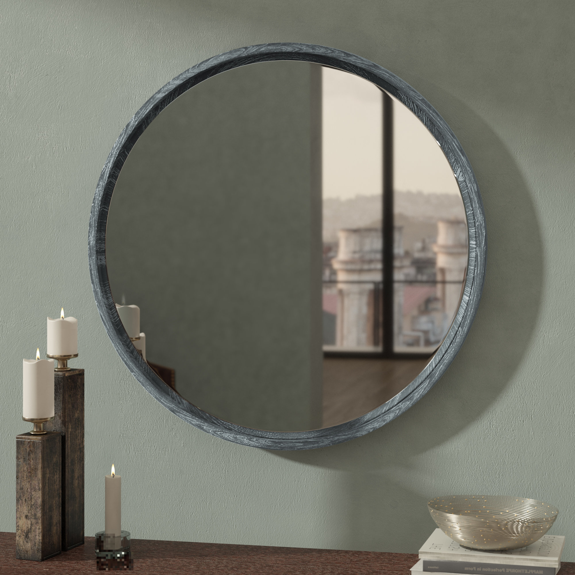 Glen View Beaded Oval Traditional Accent Mirrors Throughout Latest Coastal Aged Gray Wall Mounted Mirror (View 9 of 20)