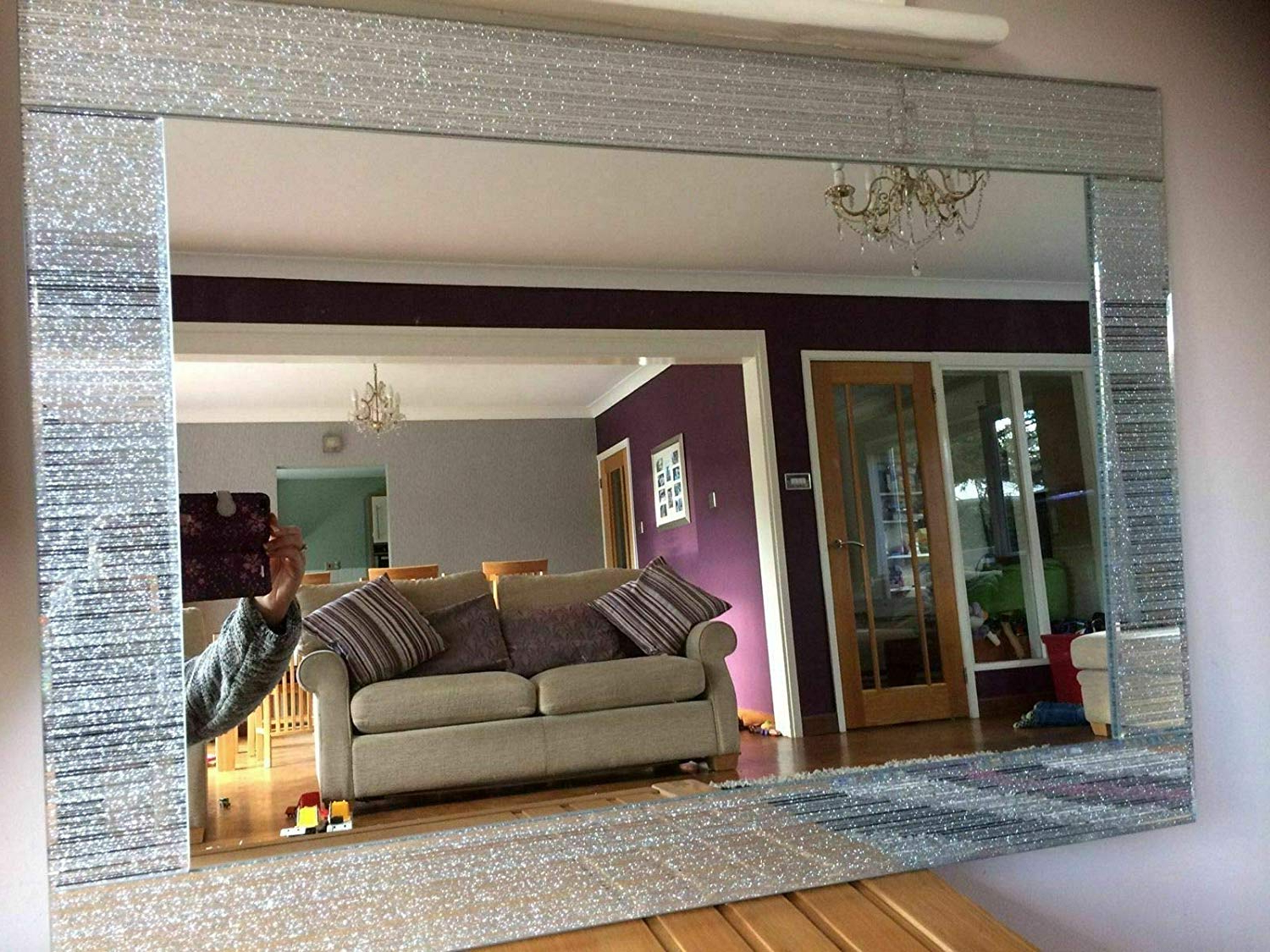 Glitter Wall Mirrors Pertaining To Well Liked Homely Rectangle Shape Designer Silver Glitter Wall Mirror Frame Beautiful Decoration Art Piece Gift (40X60Cm) (View 7 of 20)