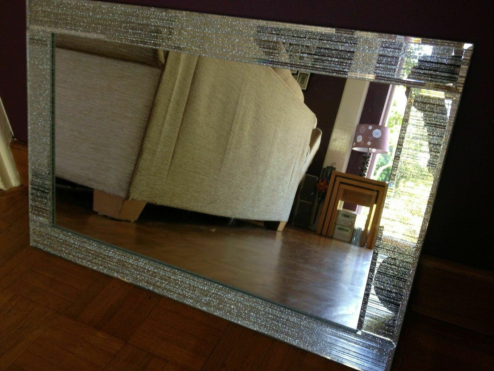 Glitter Wall Mirrors With Widely Used Glitter Silver Mirror Frame Glass Living Room Lounge Bedroom Wall 40x60cm Bling (View 8 of 20)
