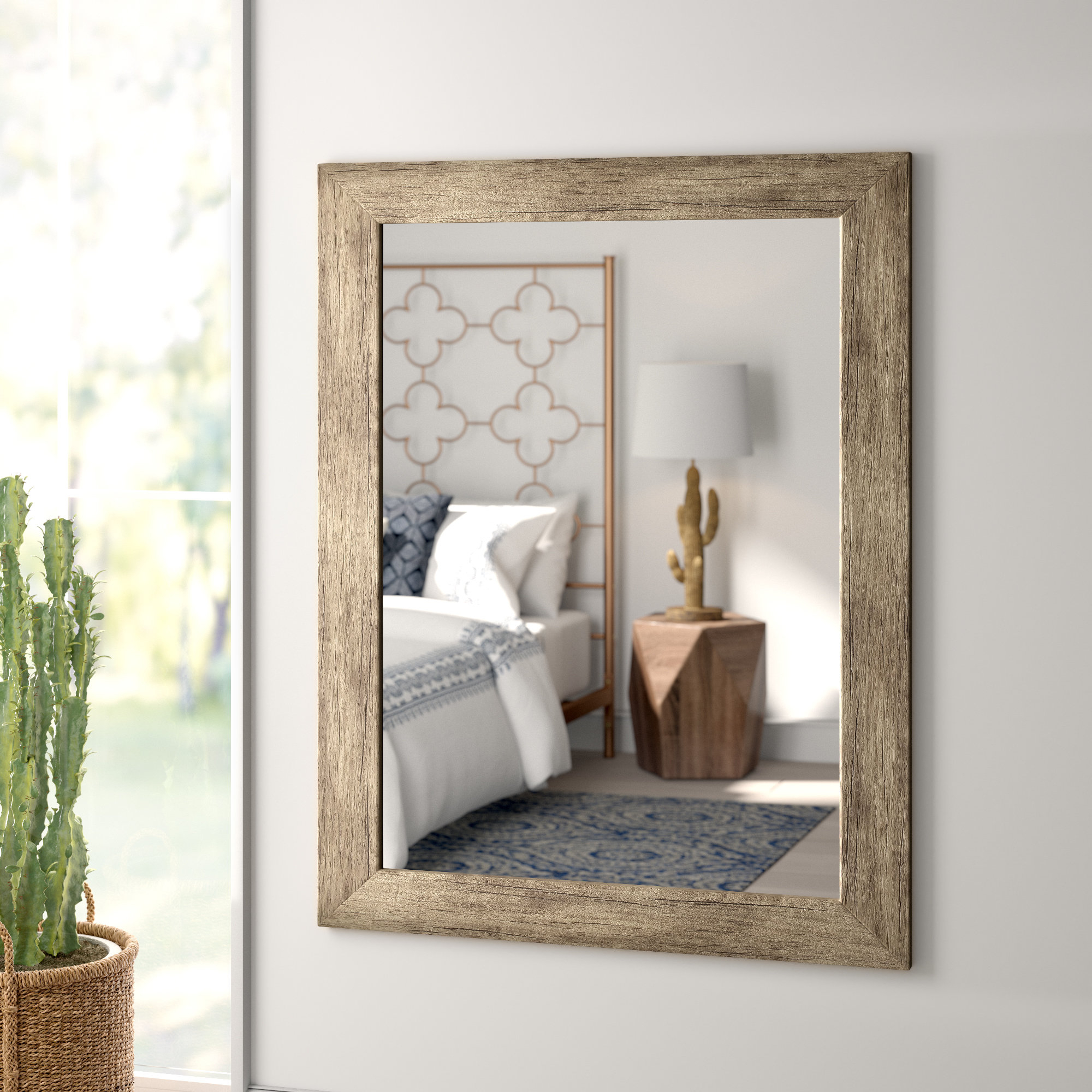 Glynis Wild West Accent Mirrors With Regard To Most Recent Areli Weathered Sand Barnwood Wall Mirror (View 11 of 20)