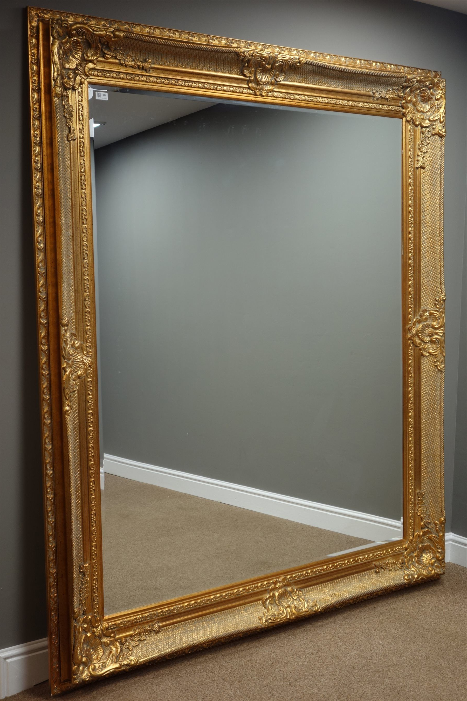 Gold Framed Wall Mirrors Throughout 2020 Large Rectangular Bevelled Edge Wall Mirror In Ornate Swept (View 11 of 20)
