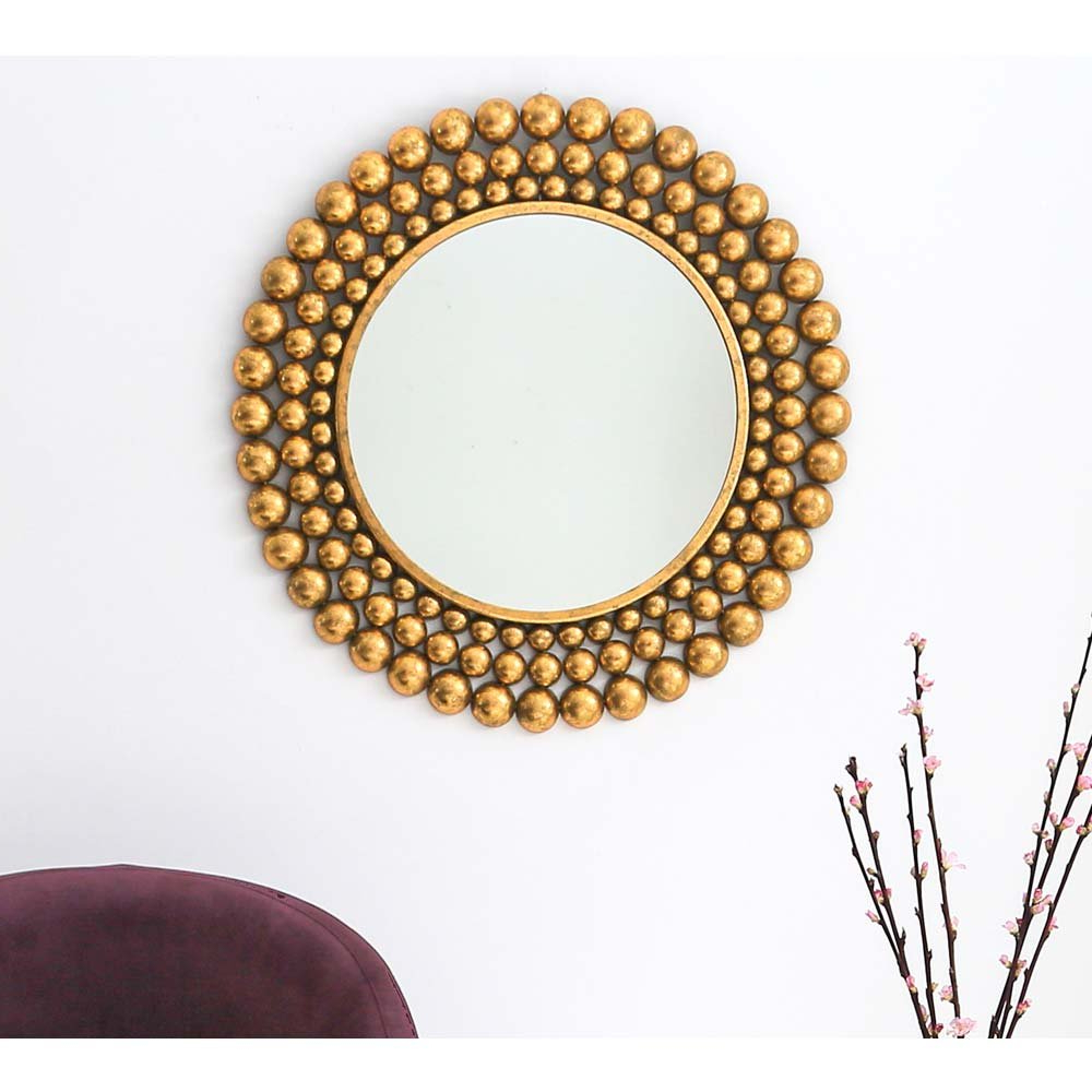 Gold Metal Frame Mirror With Bubble Wall Mirrors (View 16 of 20)