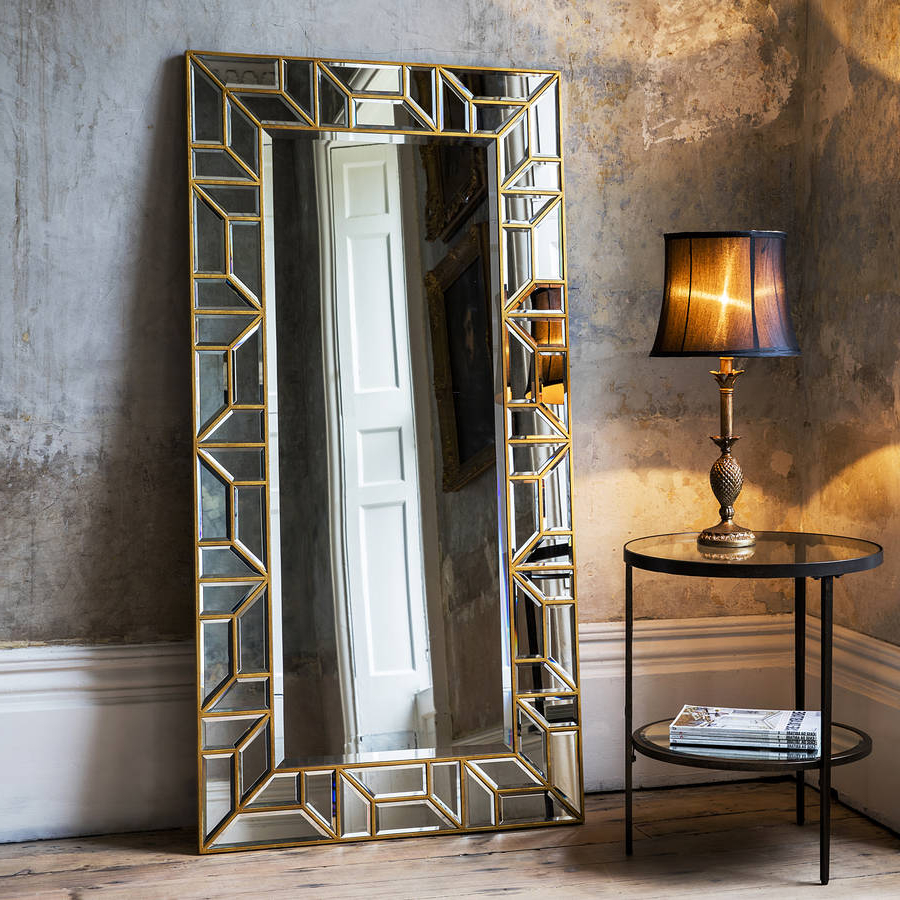 Gold Mosaic Leaner Mirror With Most Recent Leaning Mirrors (View 15 of 20)