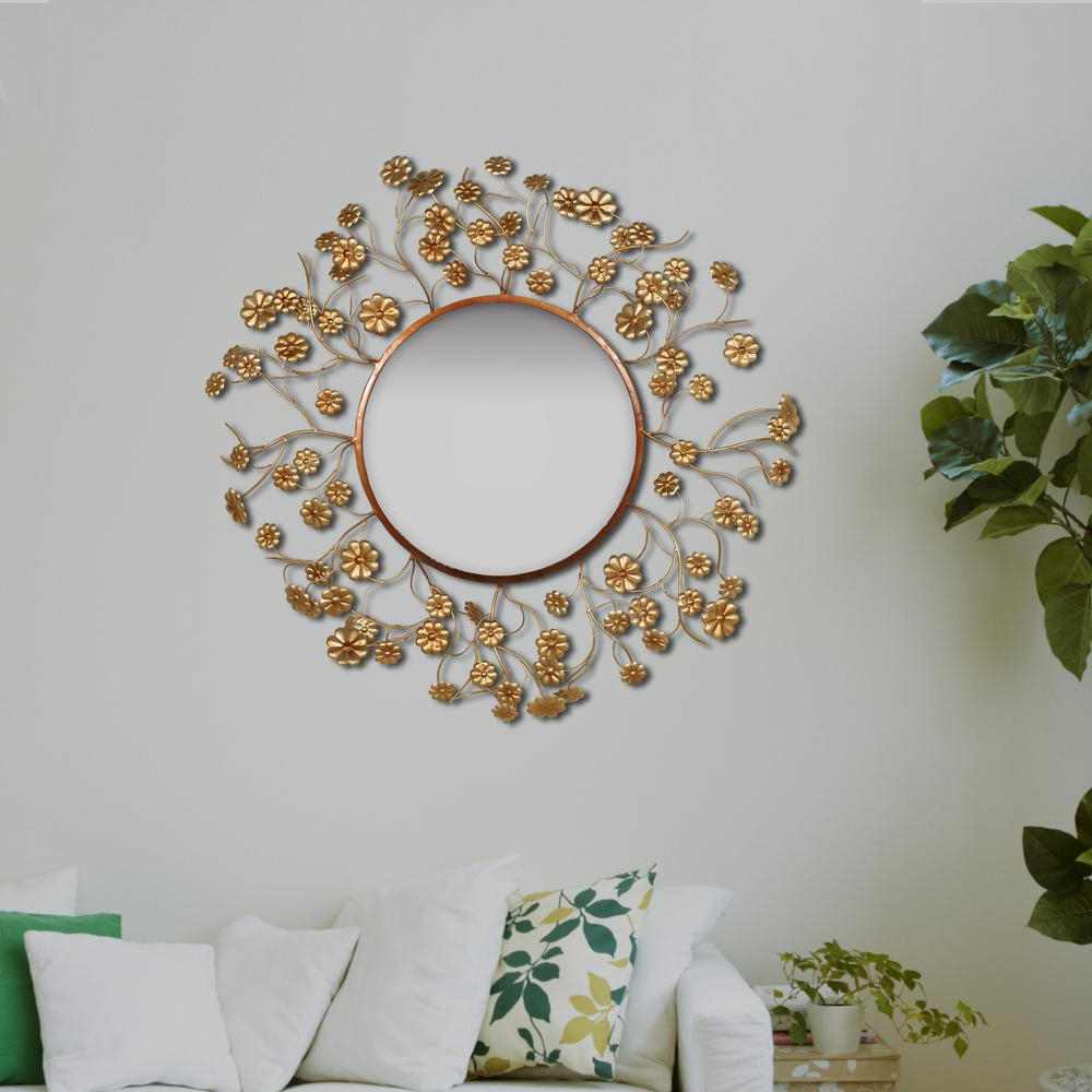 Gold Wall Mirrors Pertaining To Well Known Round Floral Aged Gold Wall Mirror (View 5 of 20)