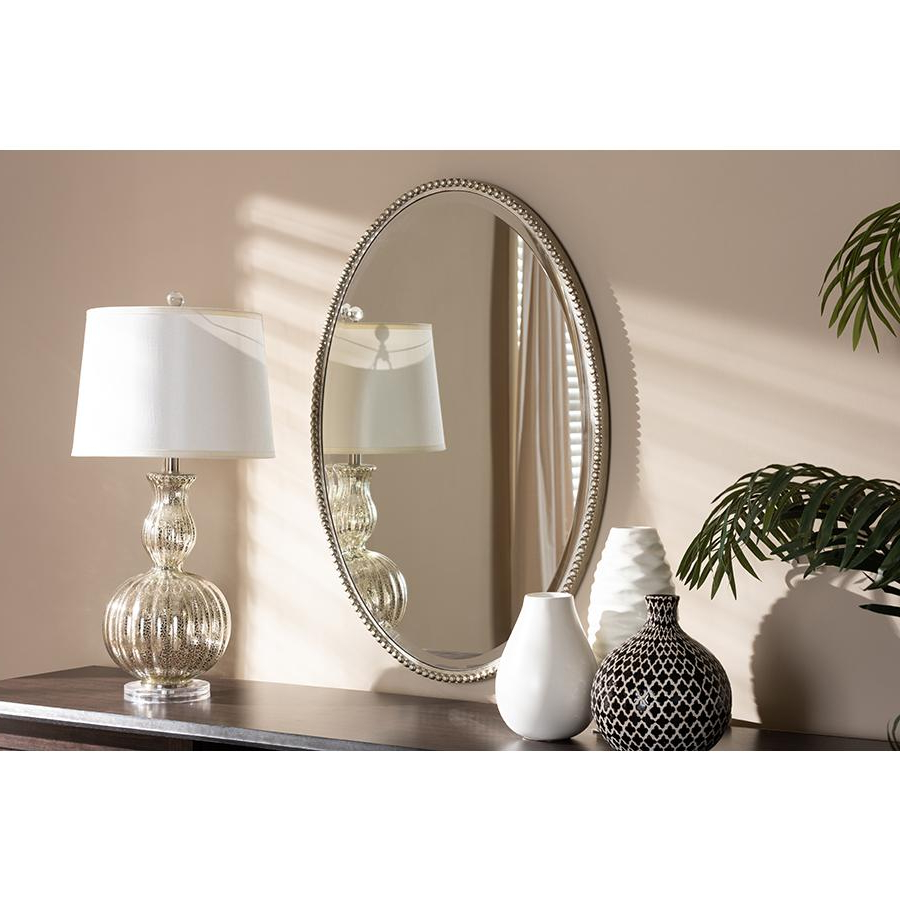 Graca Modern And Contemporary Antique Silver Finished Oval Accent Wall  Mirrorbaxton Studio With Well Known Oval Shaped Wall Mirrors (View 7 of 20)