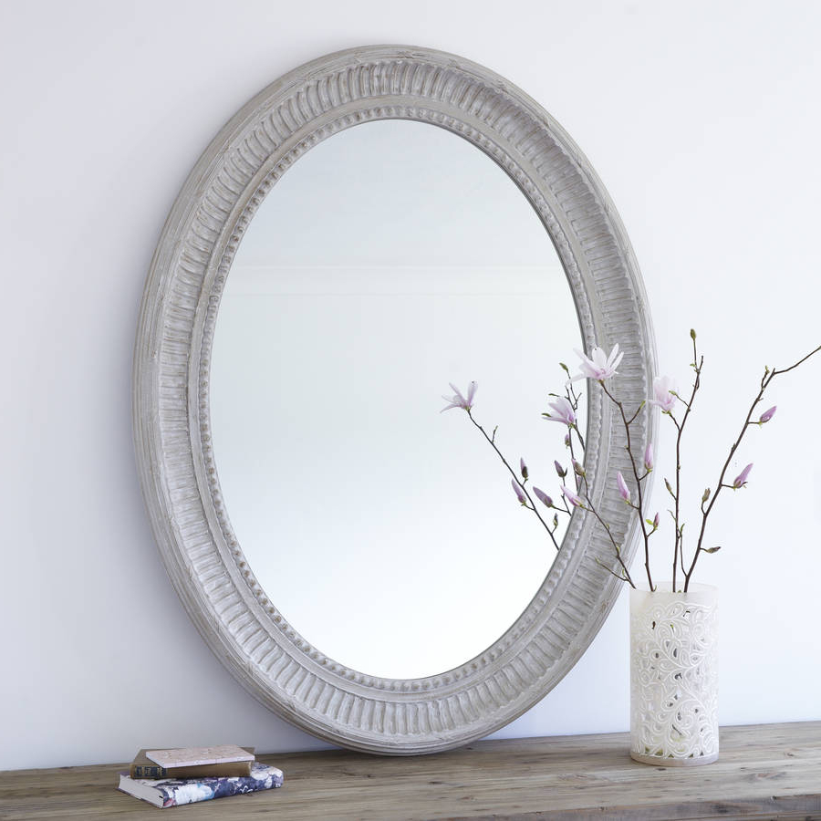 Grand Grey Oval Wooden Wall Mirror In Fashionable Large Wooden Wall Mirrors (View 4 of 20)