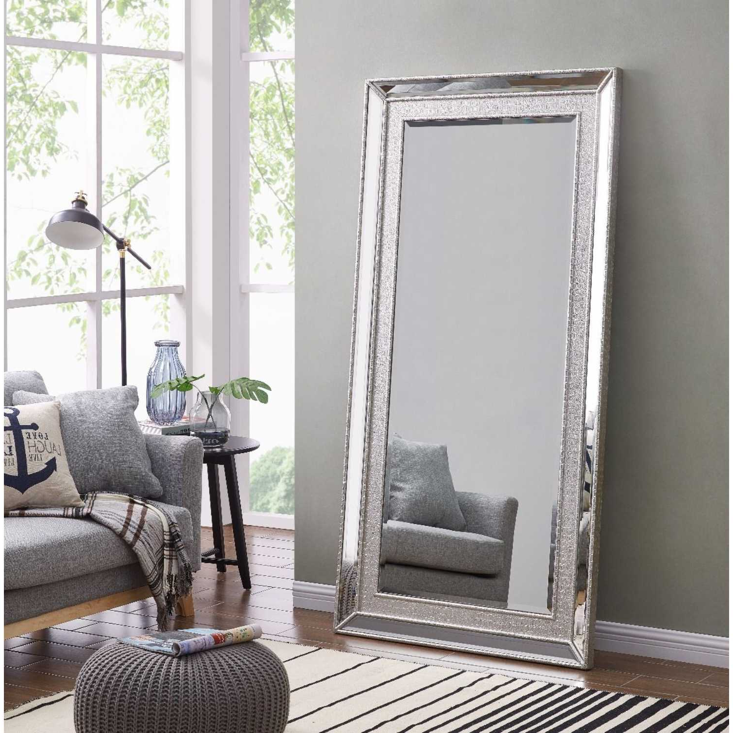 Grand Sofia Silver Extra Large Wall Floor Dressing Mirror 6Ft X 3Ft For Trendy X Large Wall Mirrors (View 6 of 20)