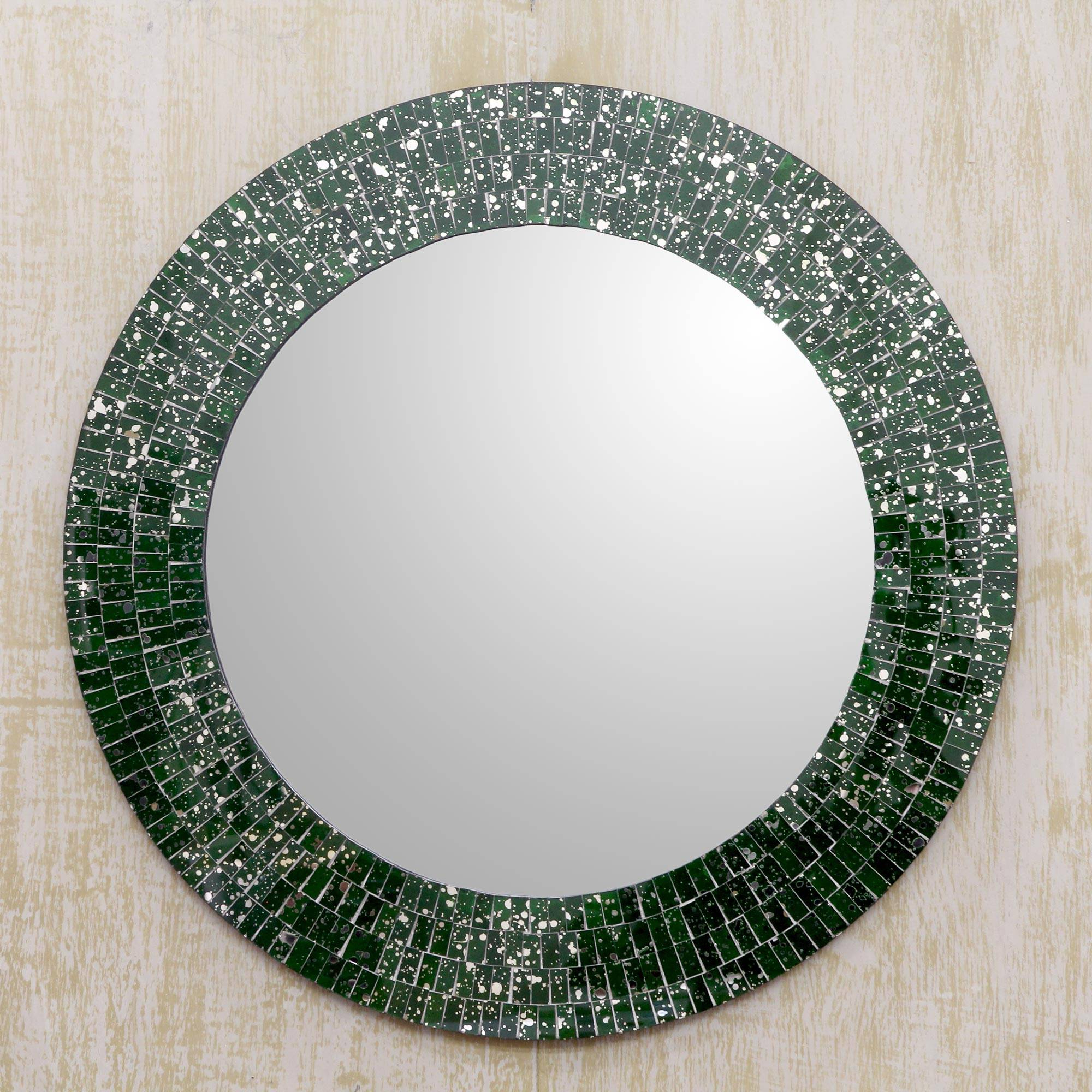 Green Glass Mosaic Round Wall Mirror Craftedhand, 'round Emerald Cosmos' Intended For Fashionable Round Mosaic Wall Mirrors (View 16 of 20)