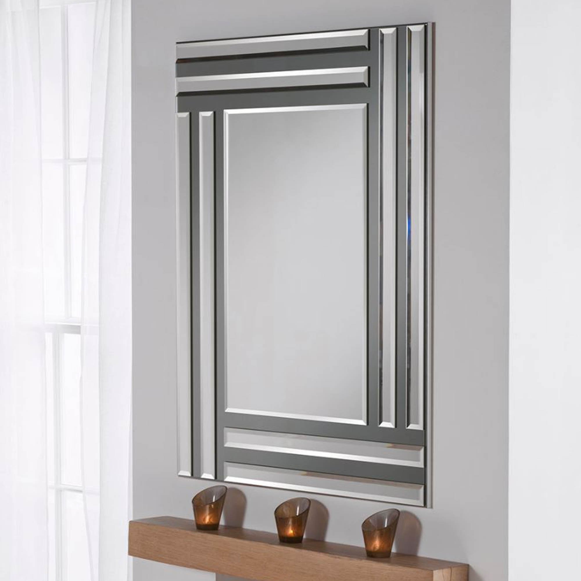 Grey Wall Mirrors In Most Popular Grey And Silver Rectangular Wall Mirror (View 6 of 20)