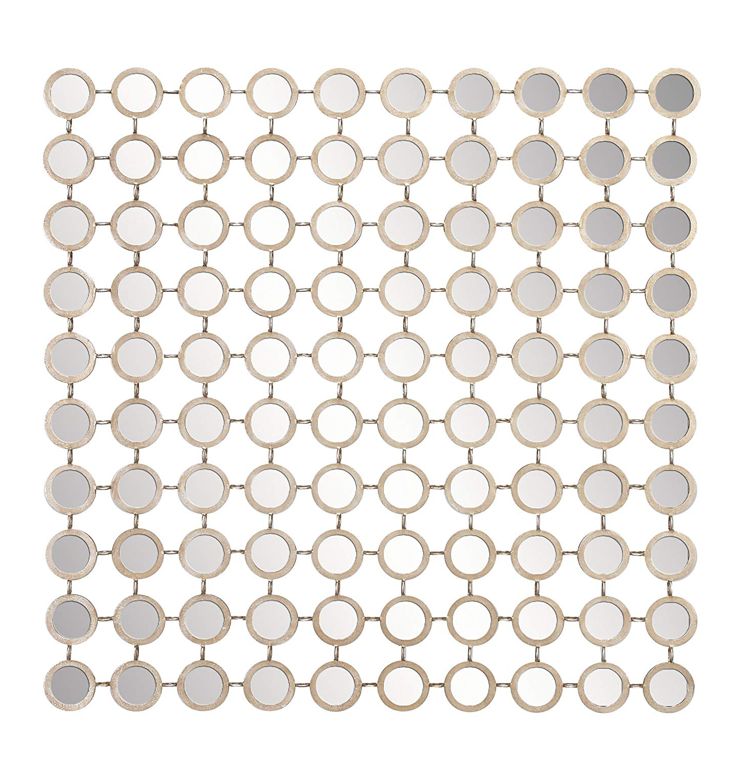 Grid Accent Mirrors For Recent Deco 79 64109 Modern Style Large Square Wall Mirror With Round Gold Metal Mirror Grid, Gold Mirror Wall Decor, Contemporary Wall Mirror, Accent Decor (View 5 of 20)
